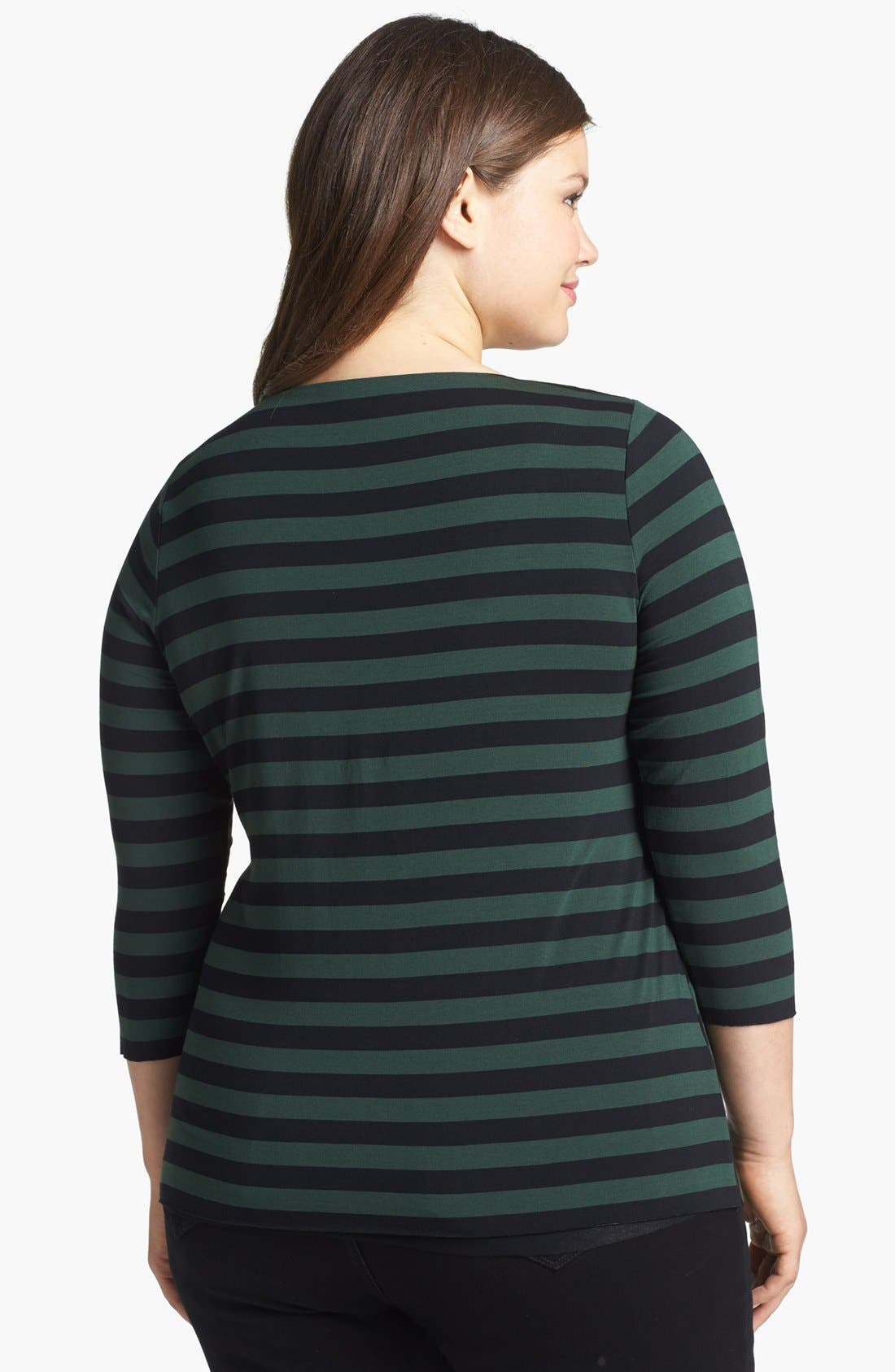 Alternate Image 2  - Vince Camuto Tiered Stripe Top (Plus Size)
