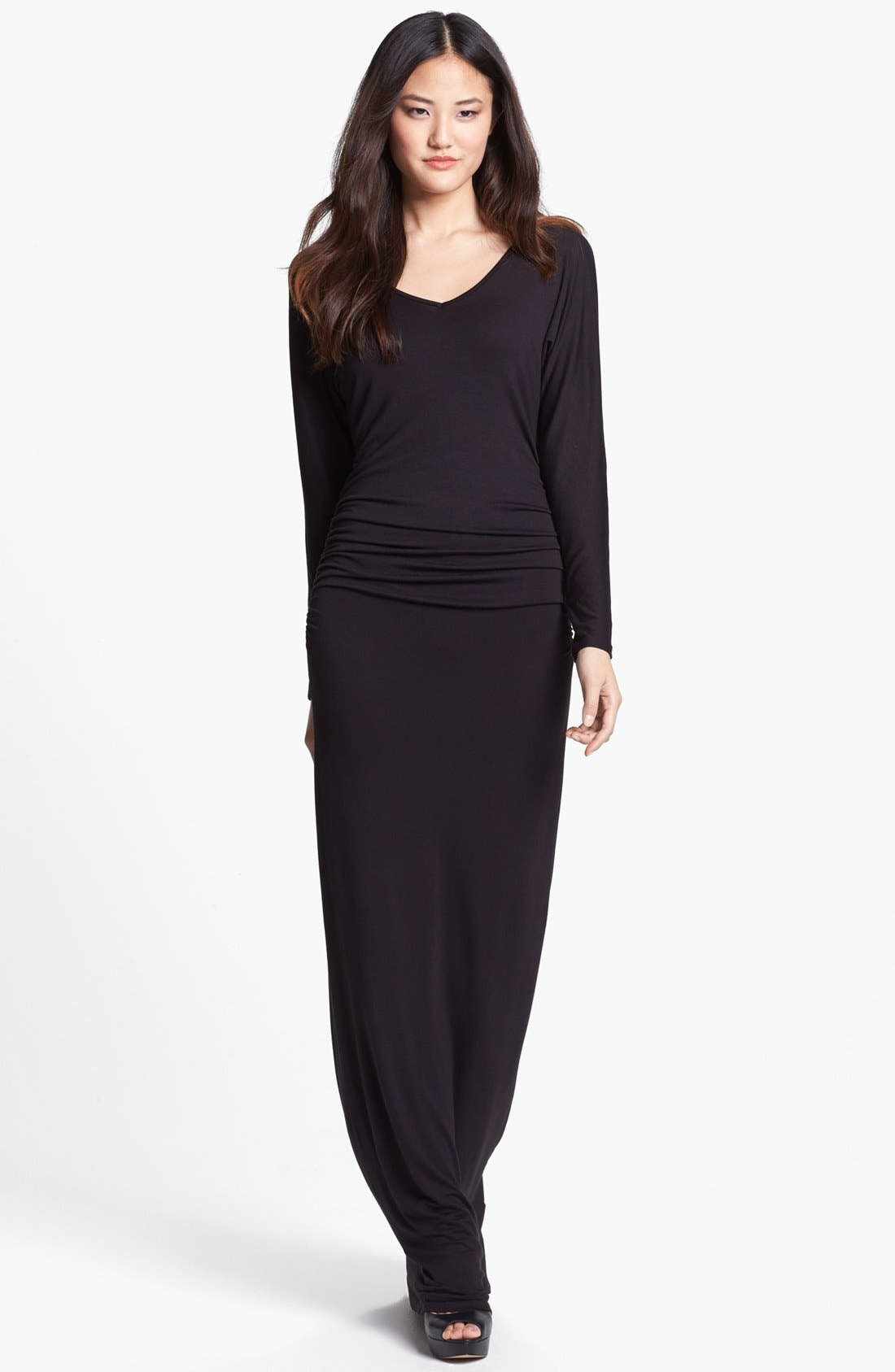 Main Image - Loveappella Dolman Sleeve Ruched Maxi Dress (Petite)