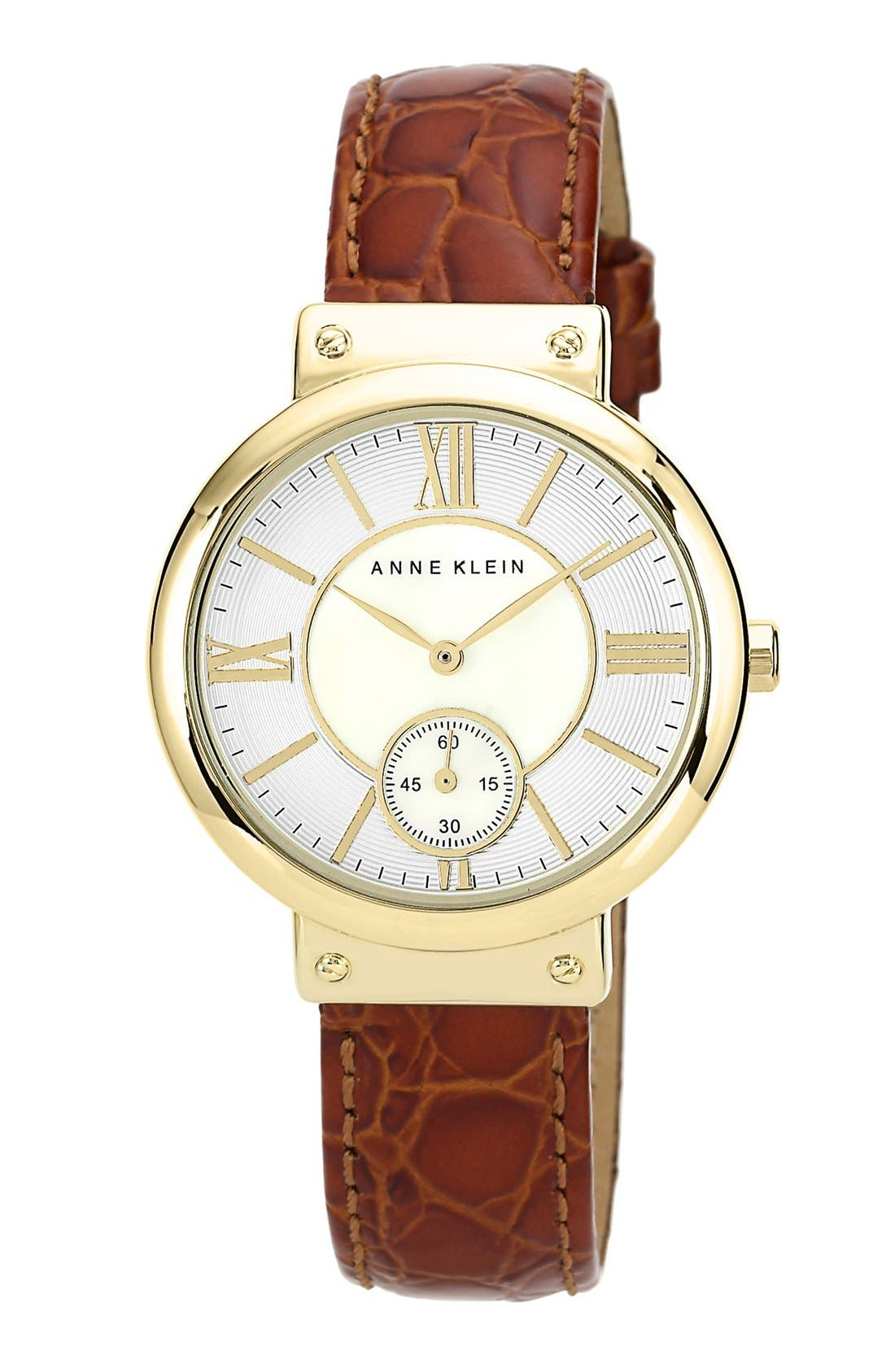 Alternate Image 1 Selected - Anne Klein Embossed Leather Strap Watch, 36mm