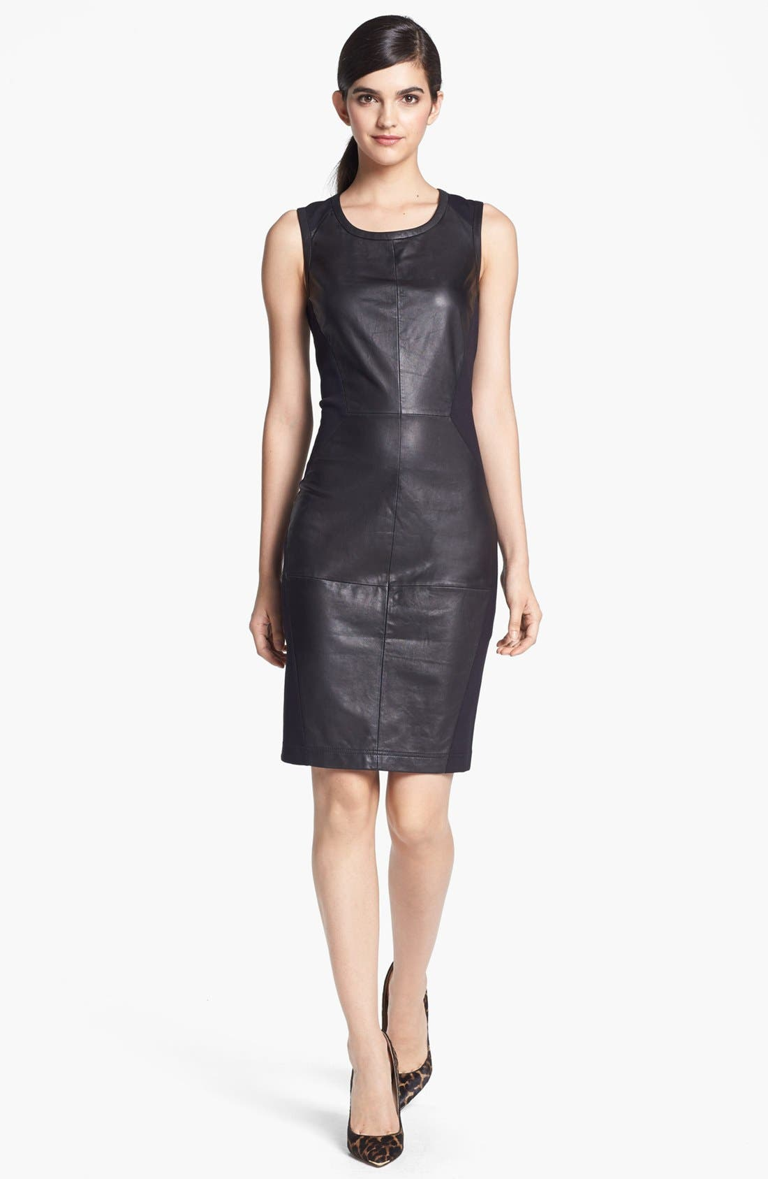 Alternate Image 1 Selected - Trouvé Leather Front Body-Con Dress