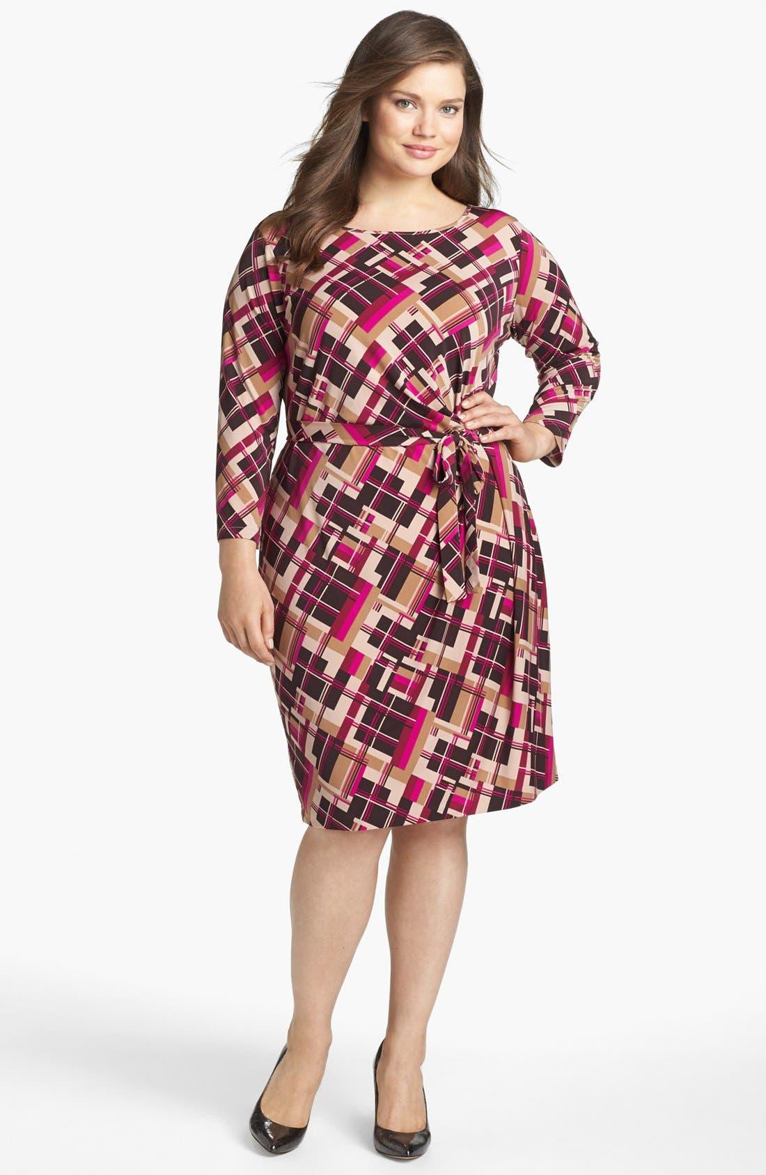 Main Image - Anne Klein Print Jersey Faux Wrap Dress (Plus Size)