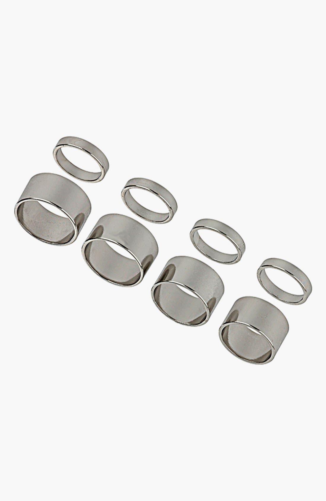 Main Image - Topshop Smooth Band Rings (Set of 8)