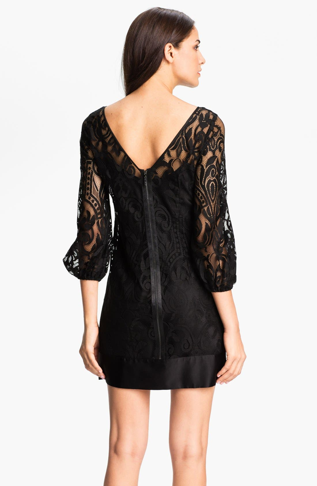 Alternate Image 2  - Laundry by Shelli Segal Blouson Sleeve Lace Dress (Regular & Petite)