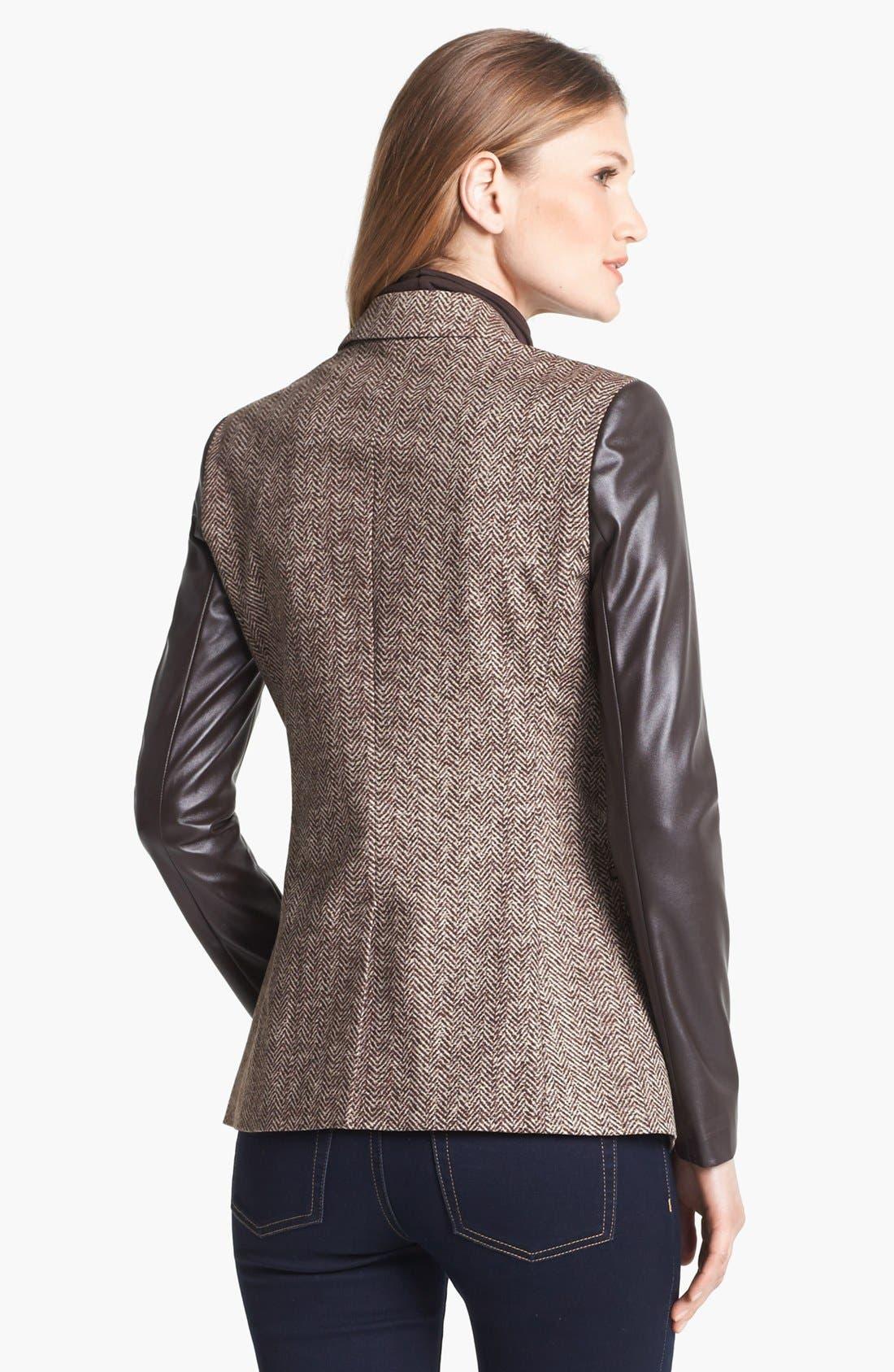 Alternate Image 2  - MICHAEL Michael Kors Faux Leather Sleeve Tweed Blazer