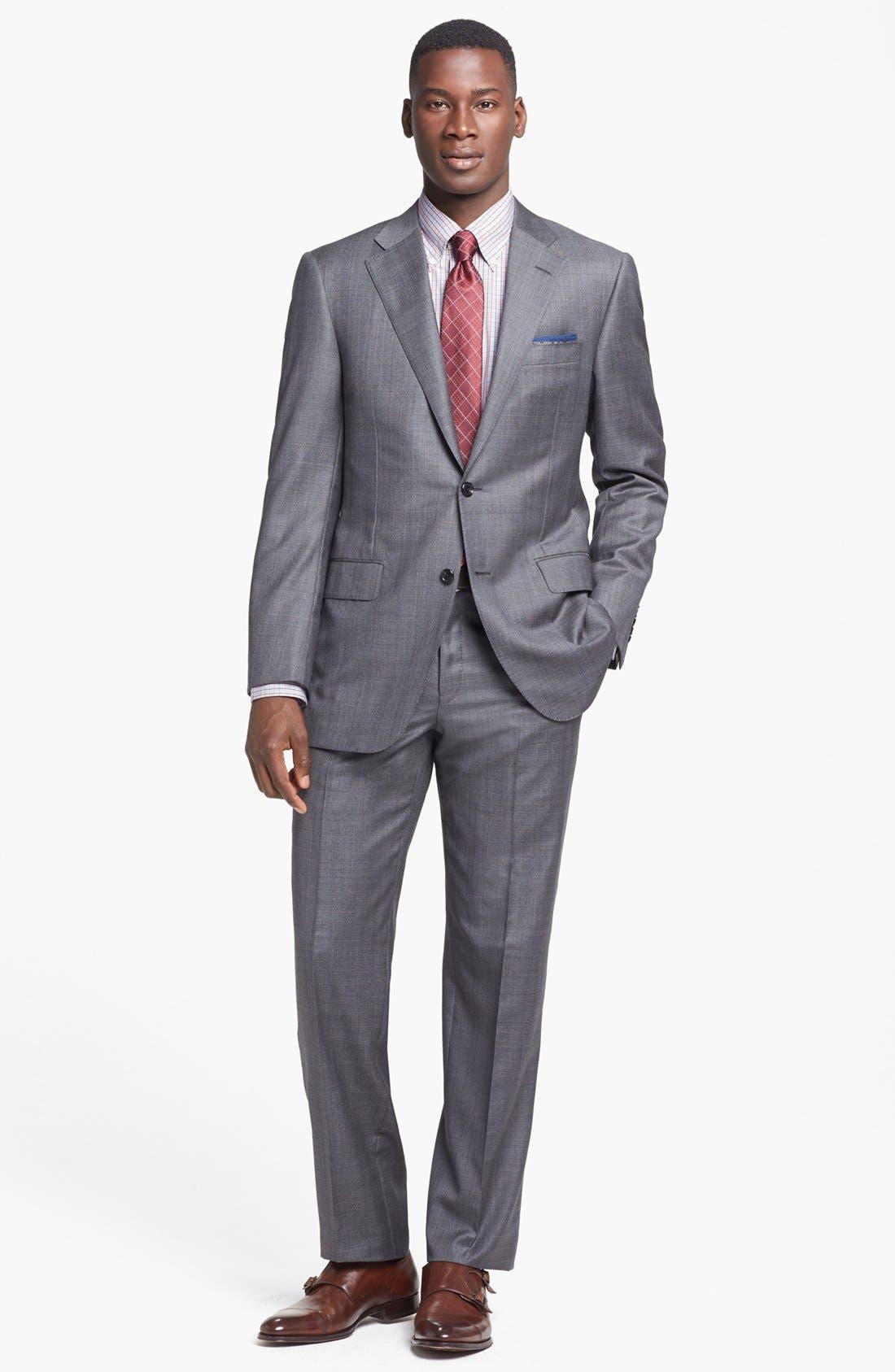Main Image - Hickey Freeman 'B Series' Classic Fit Plaid Suit