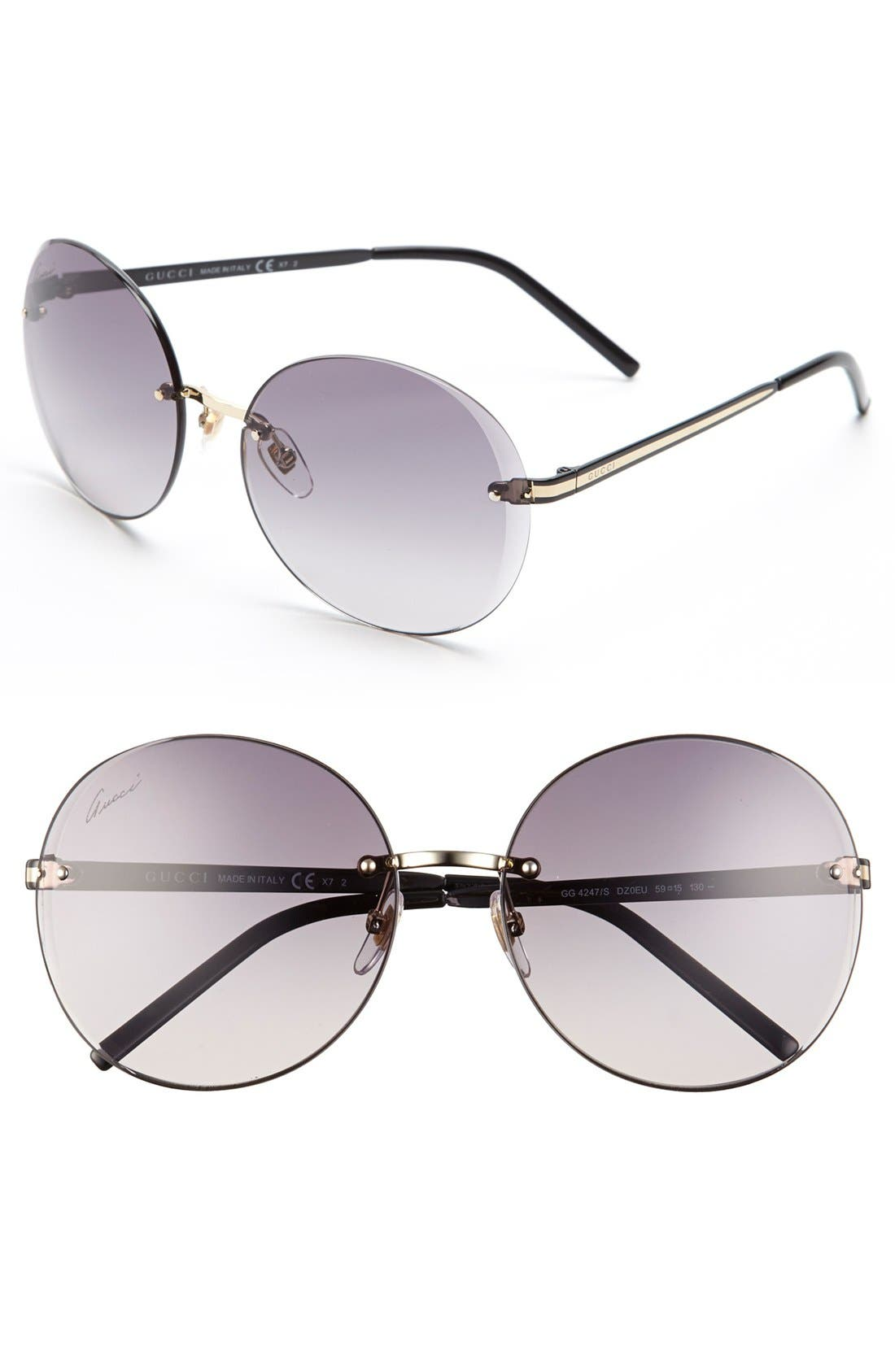 Alternate Image 1 Selected - Gucci 'Flora' 59mm Rimless Sunglasses