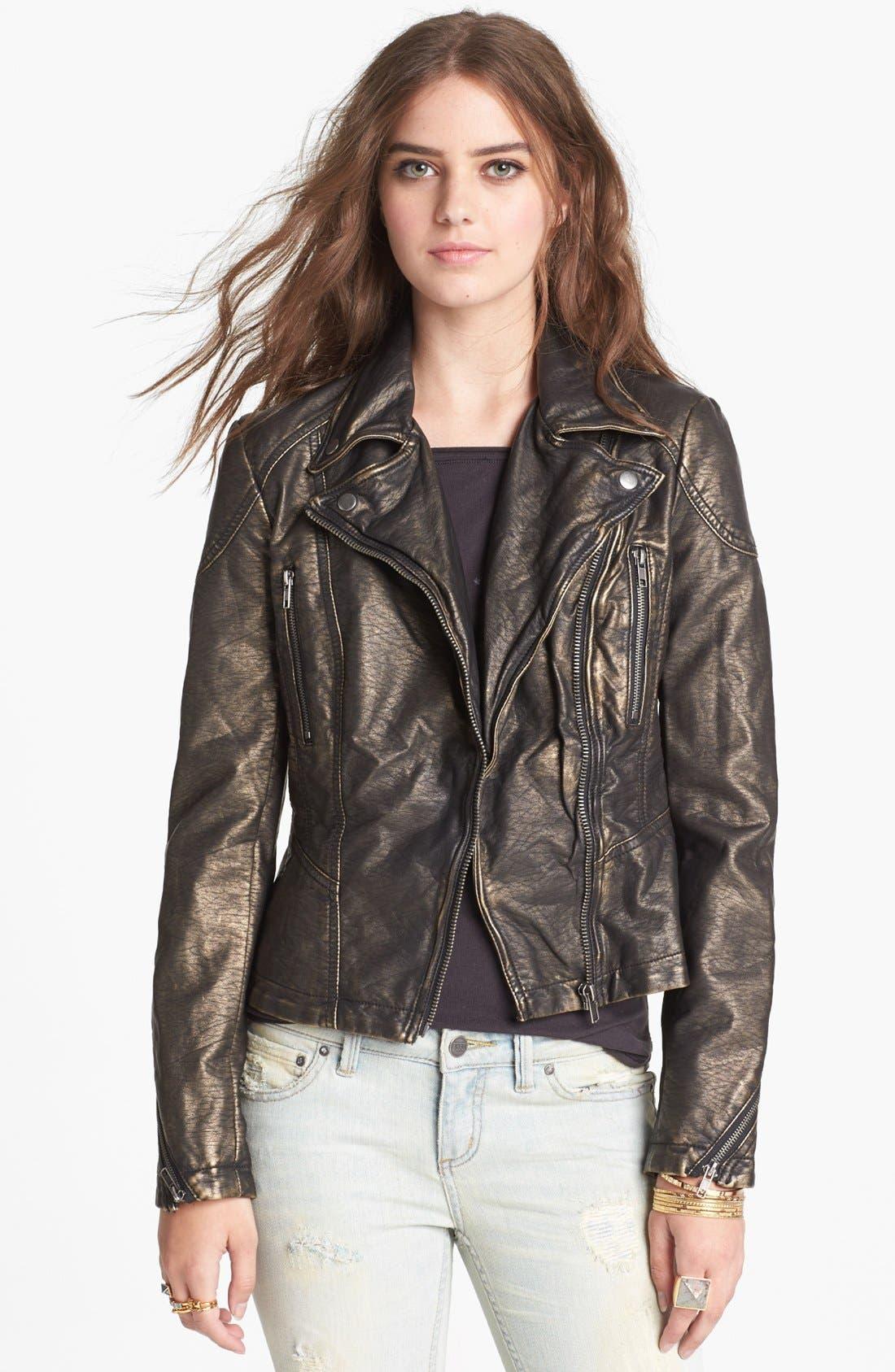 Main Image - Free People Metallic Faux Leather Jacket