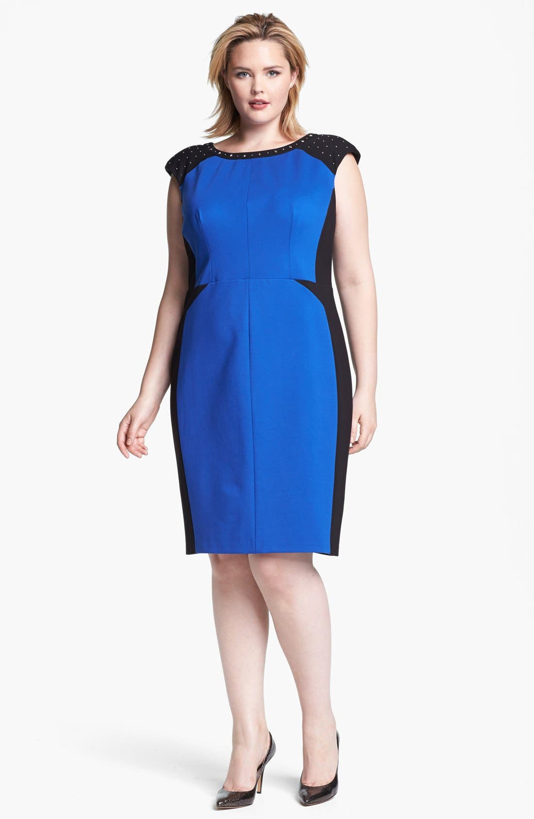 Main Image - ABS Luxury Collection Studded Colorblock Sheath Dress (Plus Size)