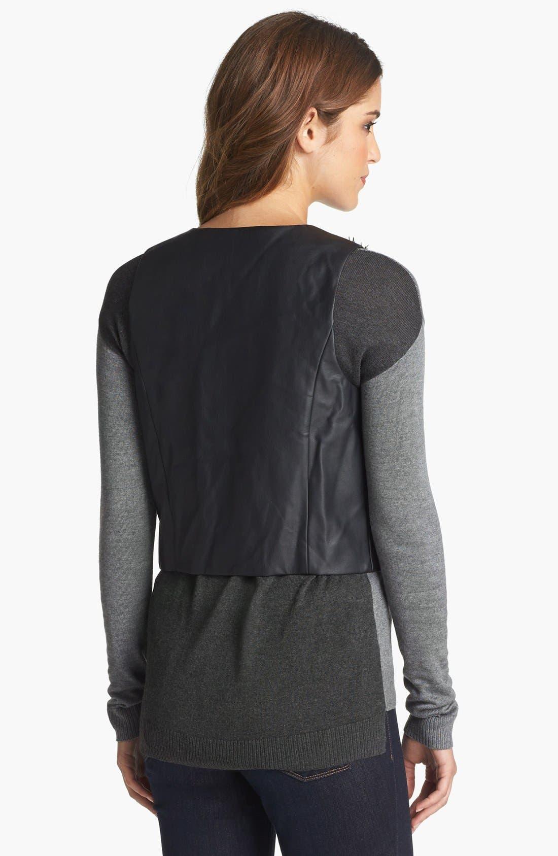 Alternate Image 2  - kensie Faux Fur & Faux Leather Vest