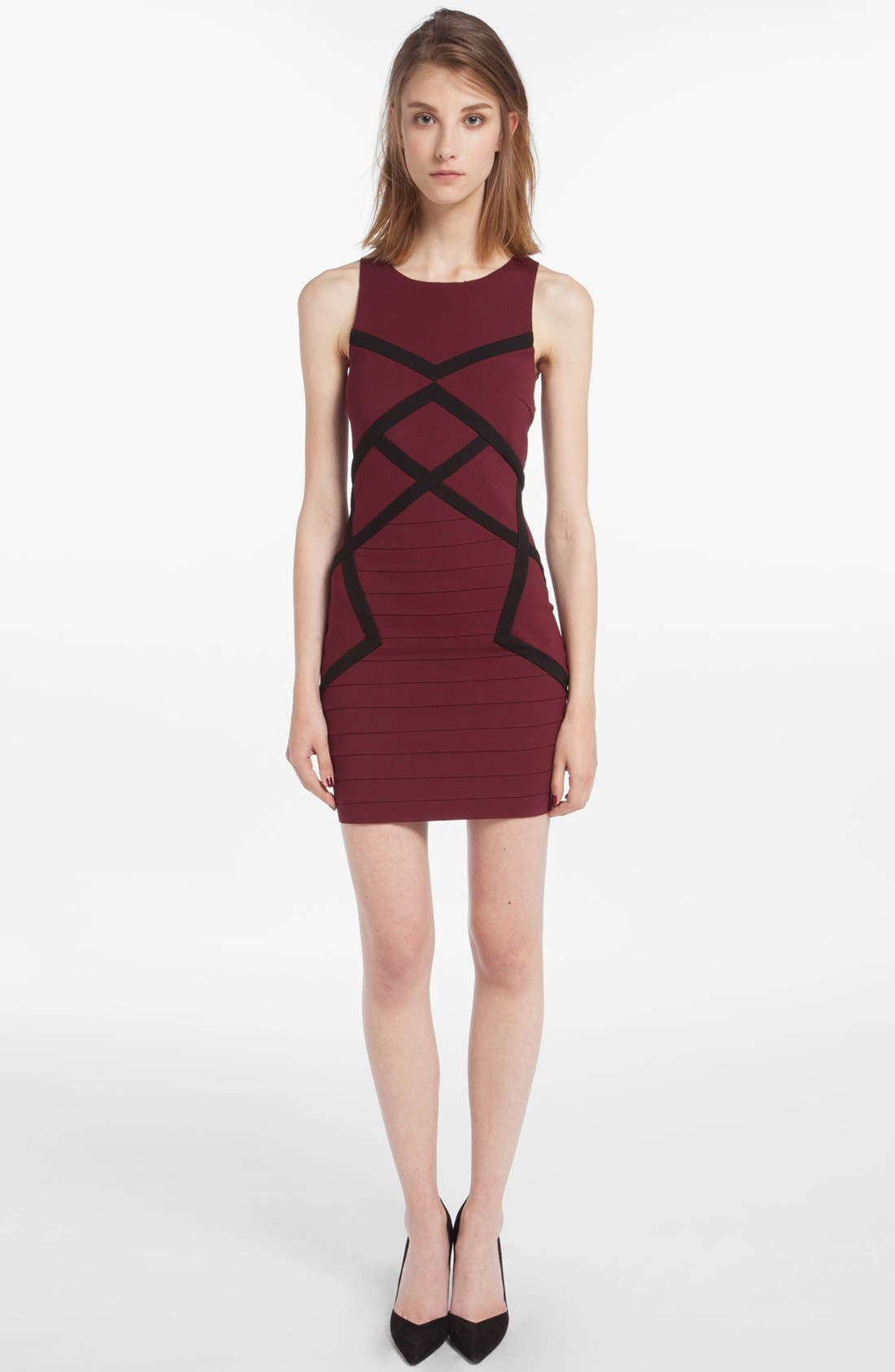 Alternate Image 1 Selected - maje 'Destinee' Two Tone Body-Con Dress