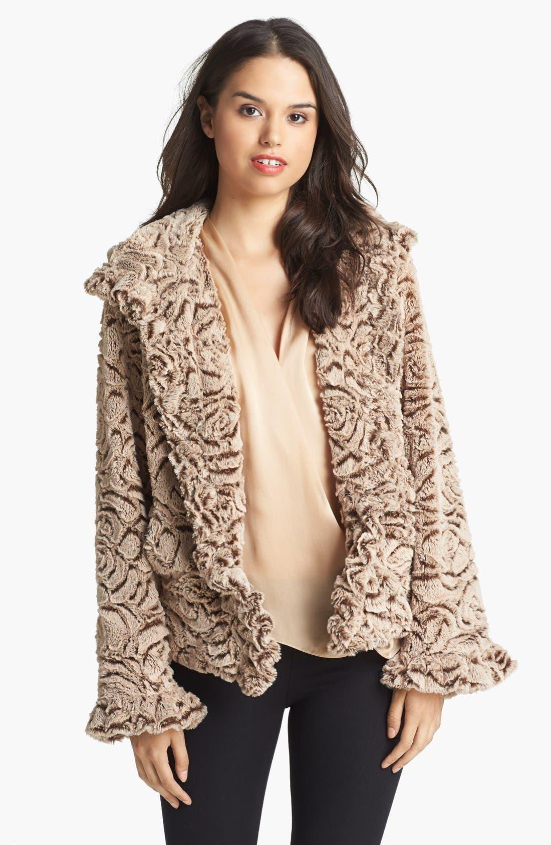 Alternate Image 1  - Damselle Hooded Faux Fur Jacket (Online Only)