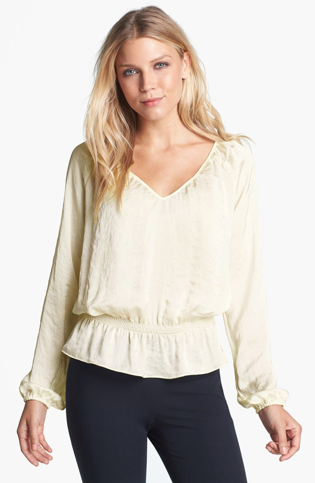 Main Image - MICHAEL Michael Kors Smocked Waist Peasant Blouse (Regular & Petite)