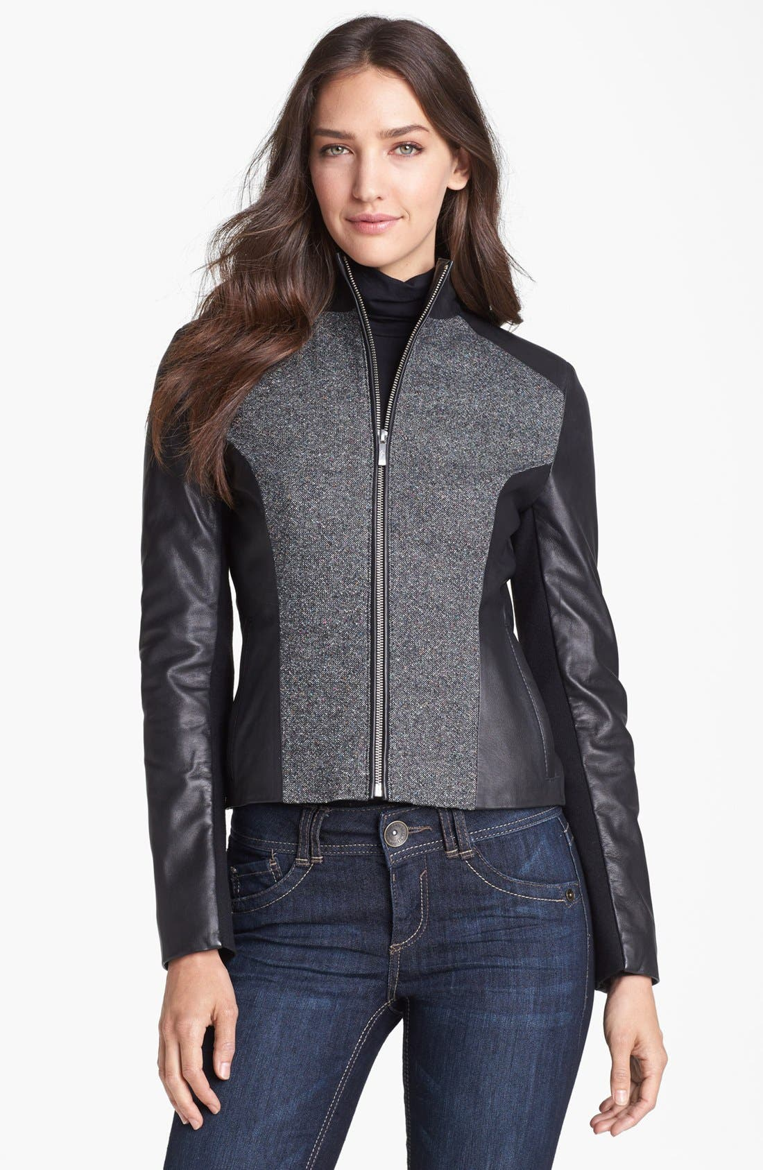 Alternate Image 1  - Cole Haan Leather & Speckled Wool Jacket