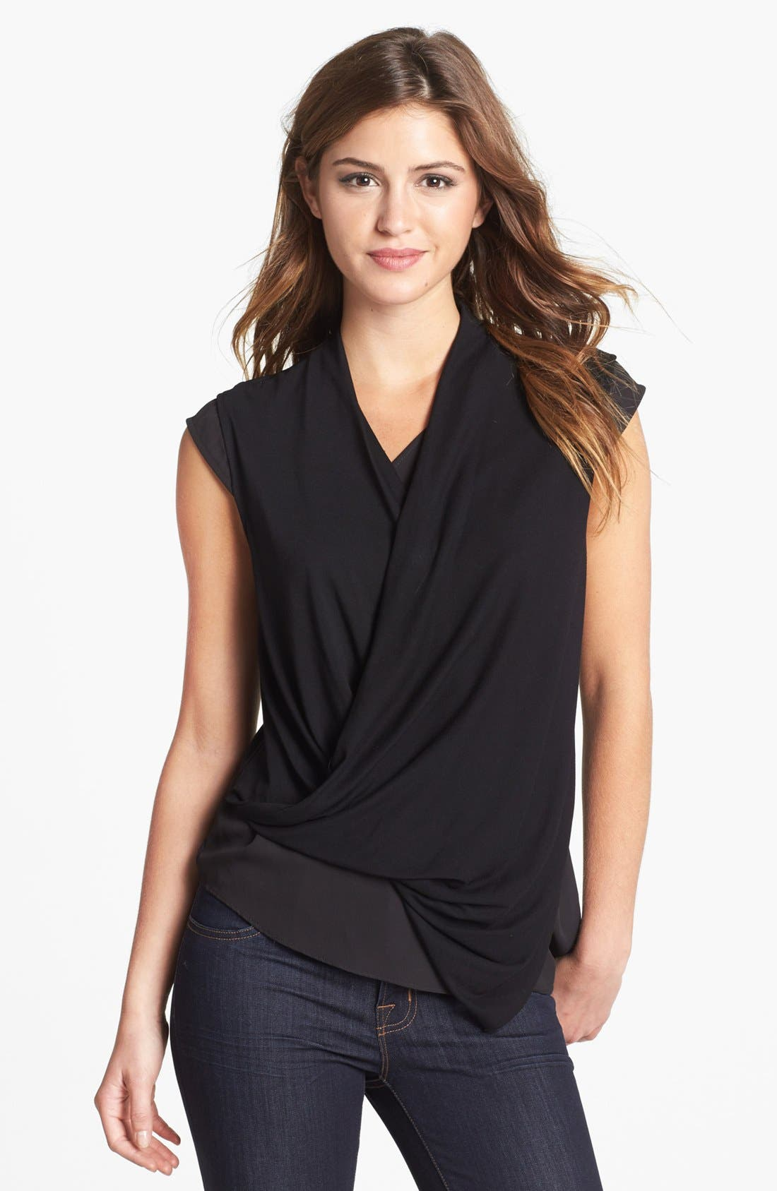 Alternate Image 1 Selected - Vince Camuto Drape Front Mixed Media Top (Online Only)