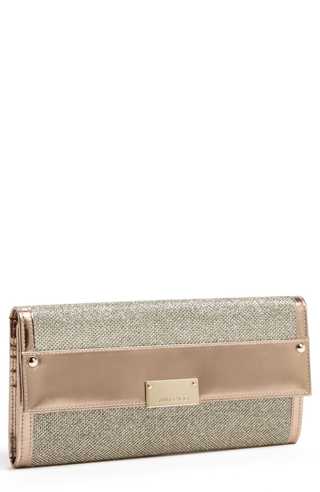 Main Image - Jimmy Choo 'Reese' Lamé Glitter Clutch