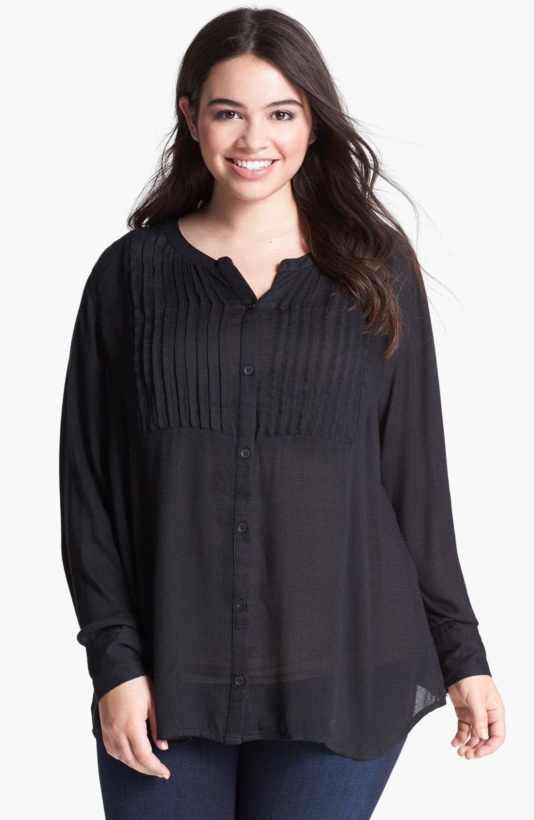 Alternate Image 1 Selected - Lucky Brand Dobby Tuxedo Top (Plus Size)