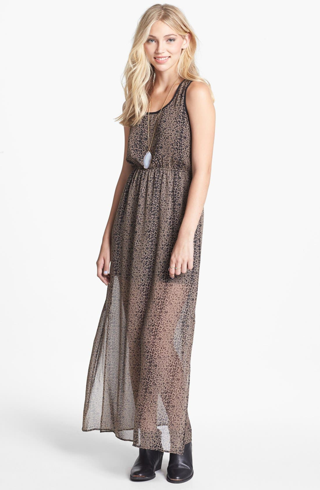 Main Image - dee elle Racerback Print Maxi Dress (Juniors)