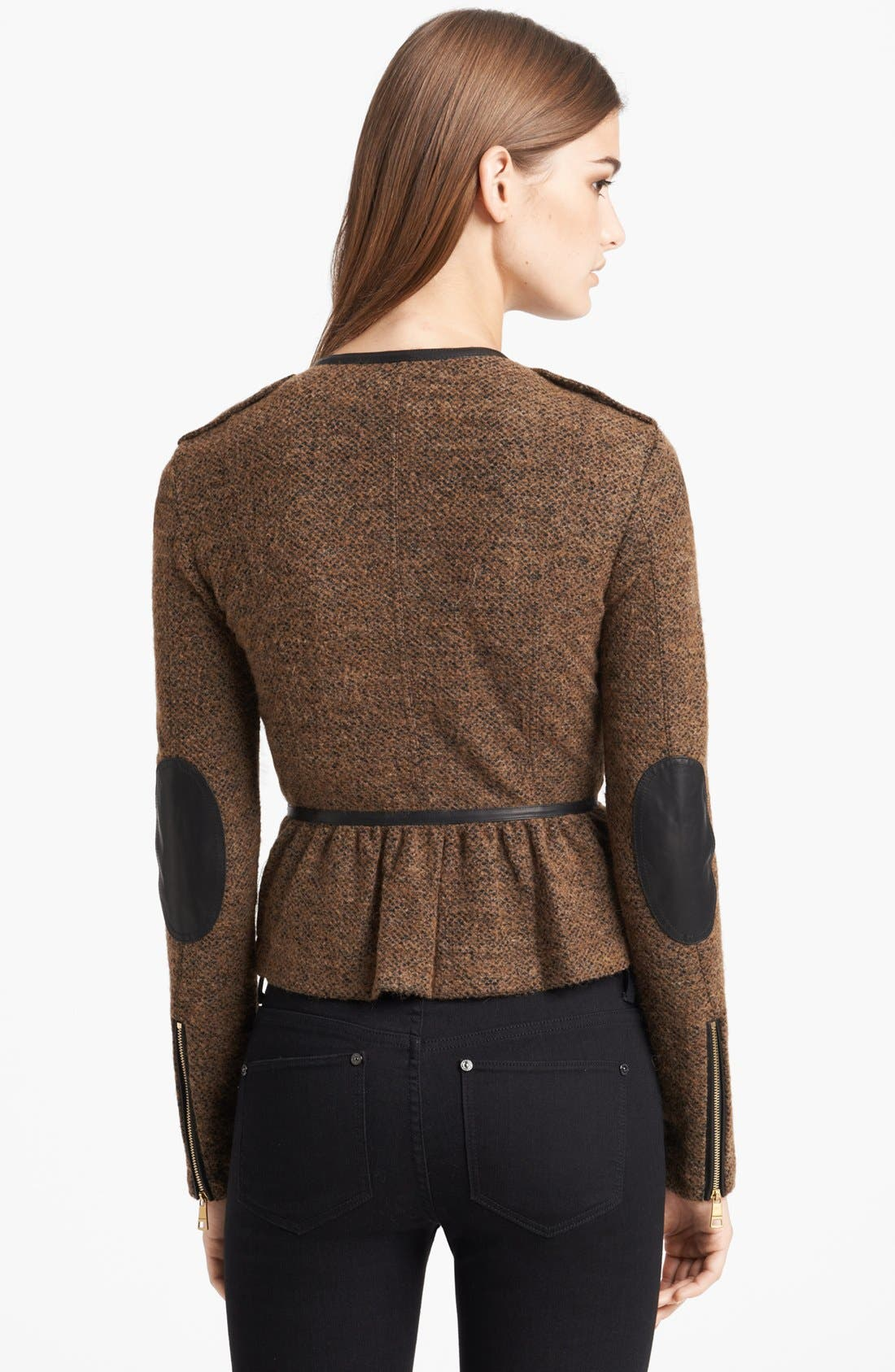 Alternate Image 2  - Burberry Brit 'Meriden' Leather Trim Peplum Jacket
