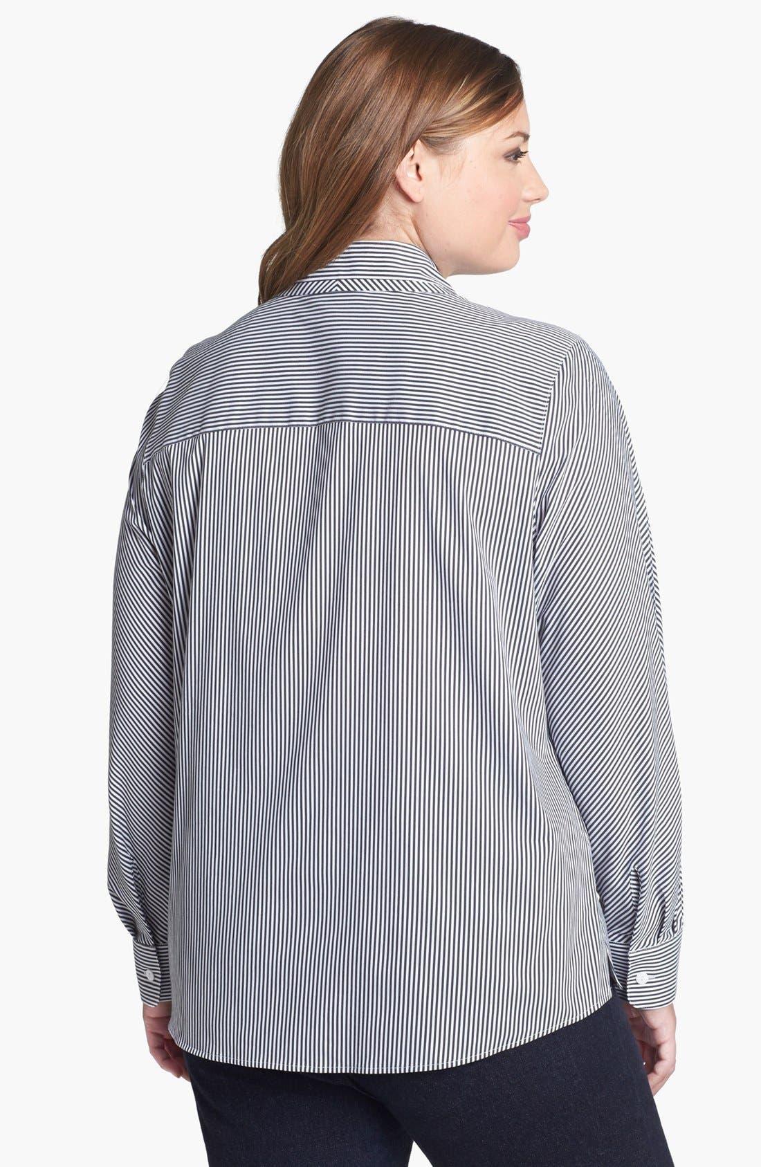 Alternate Image 2  - Foxcroft Stripe Shaped Shirt (Plus Size)
