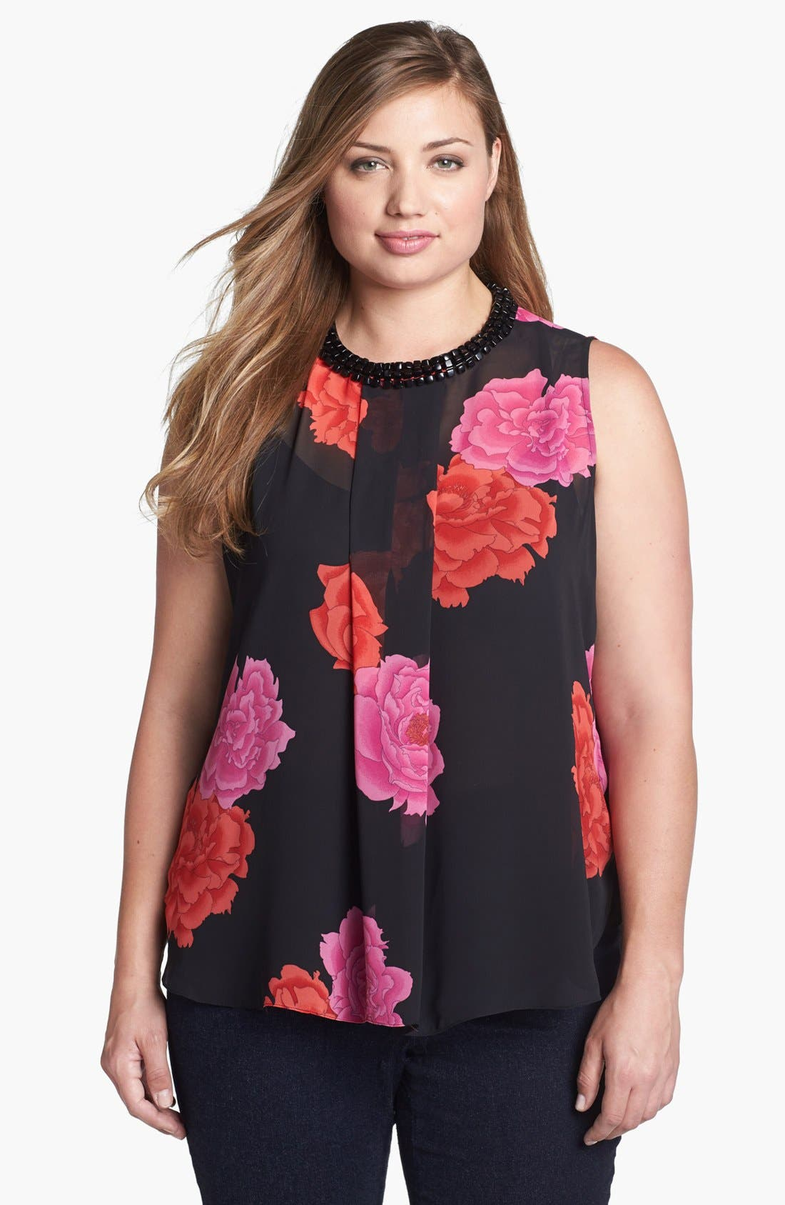 Main Image - Vince Camuto 'Peonies' Embellished Blouse (Plus Size)