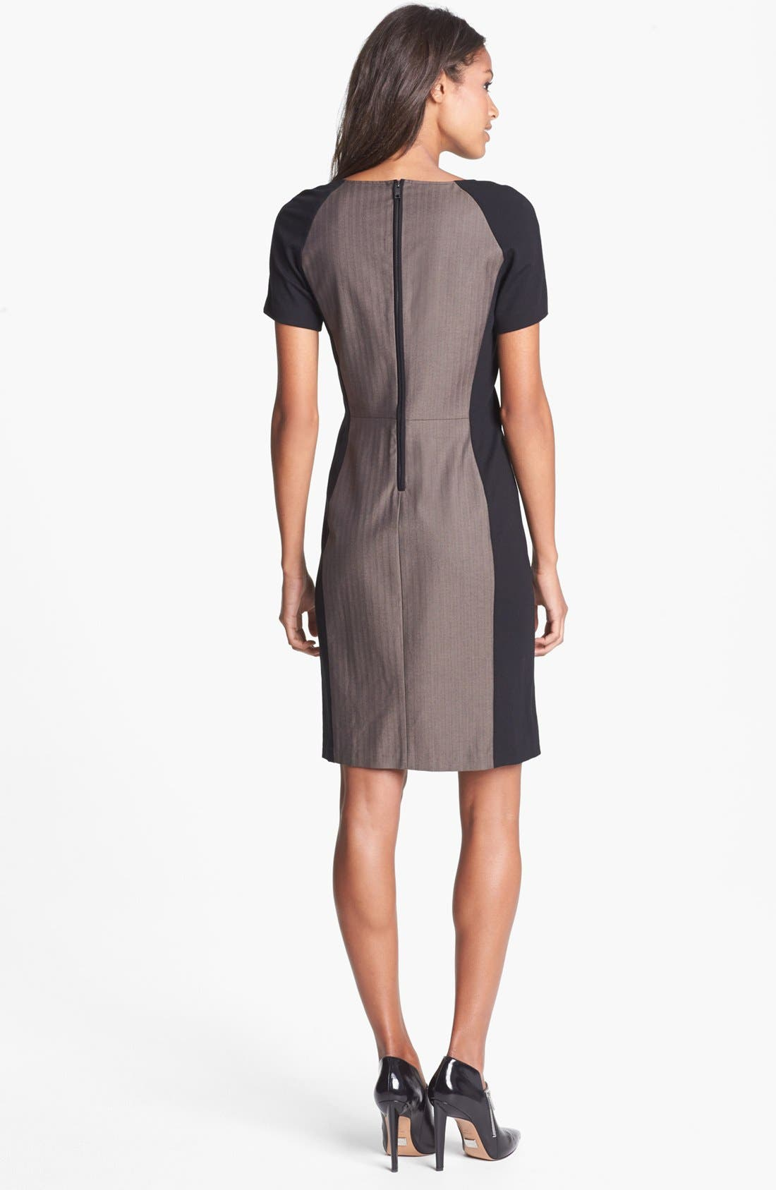 Alternate Image 2  - DKNYC Ponte Inset Herringbone Sheath Dress