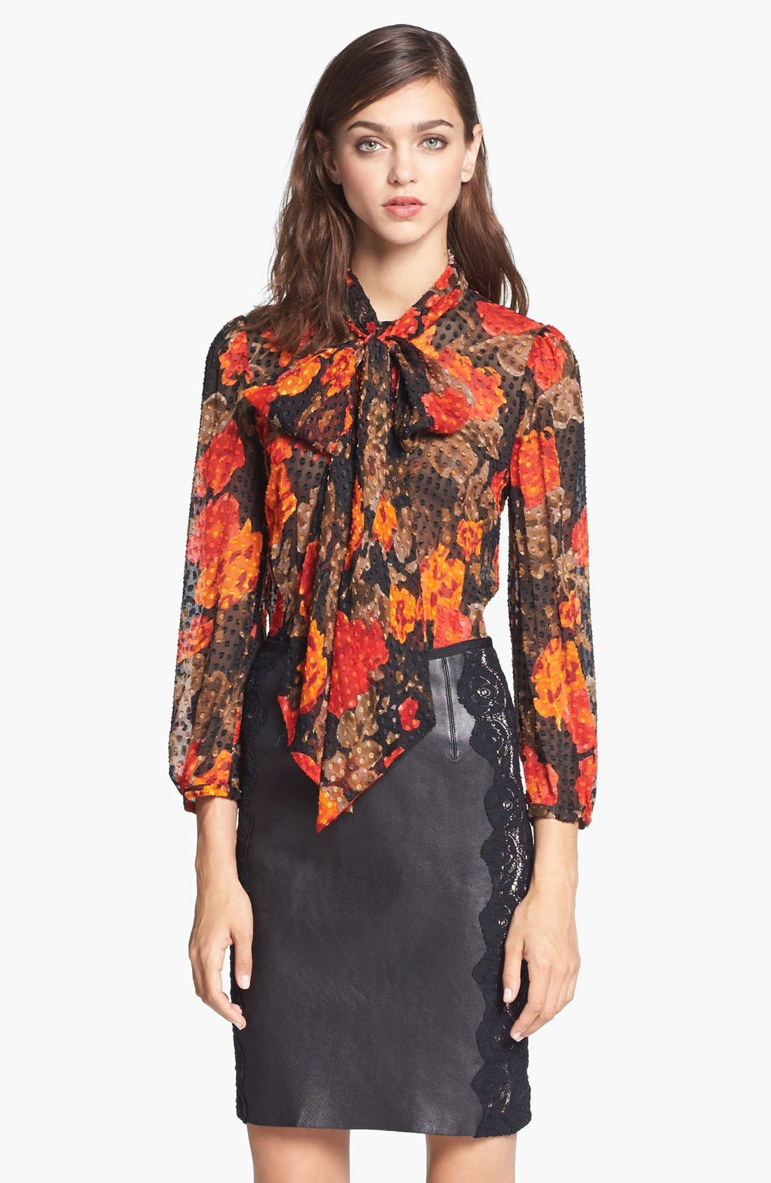 Alternate Image 1 Selected - Tracy Reese Floral Print Tie Neck Blouse