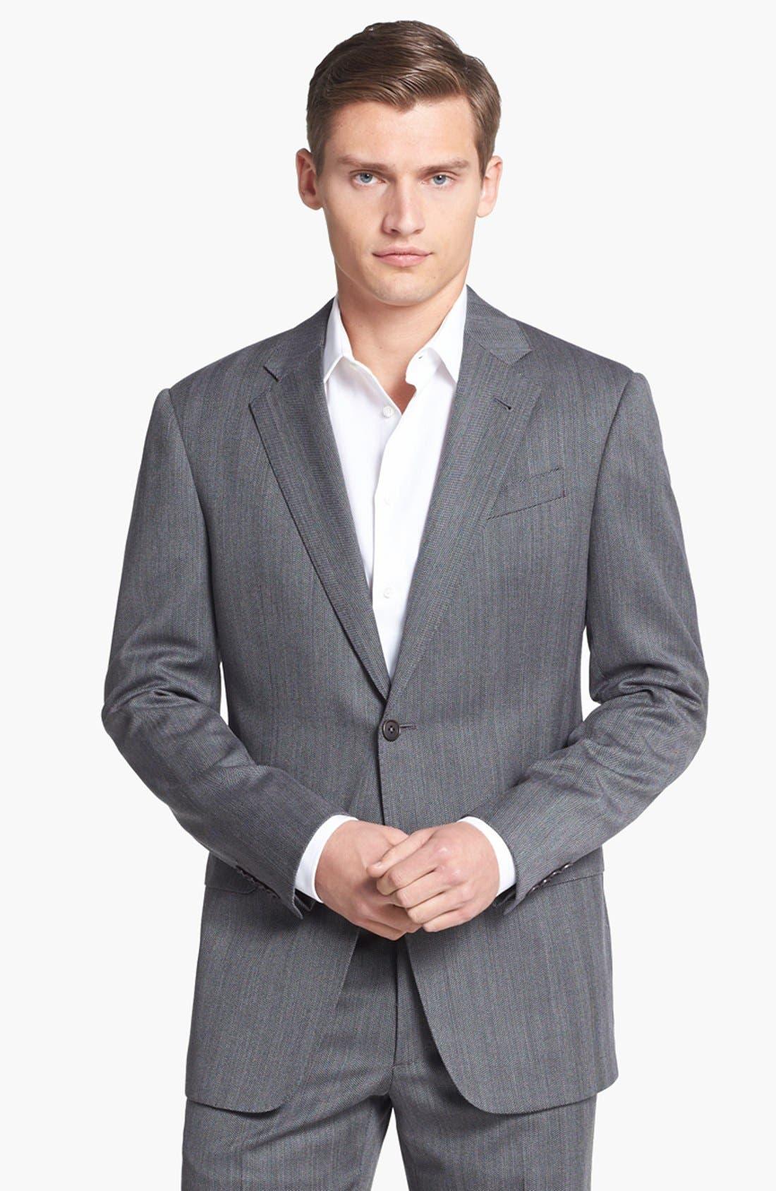 Alternate Image 4  - Armani Collezioni 'Giorgio' Grey Herringbone Wool Suit