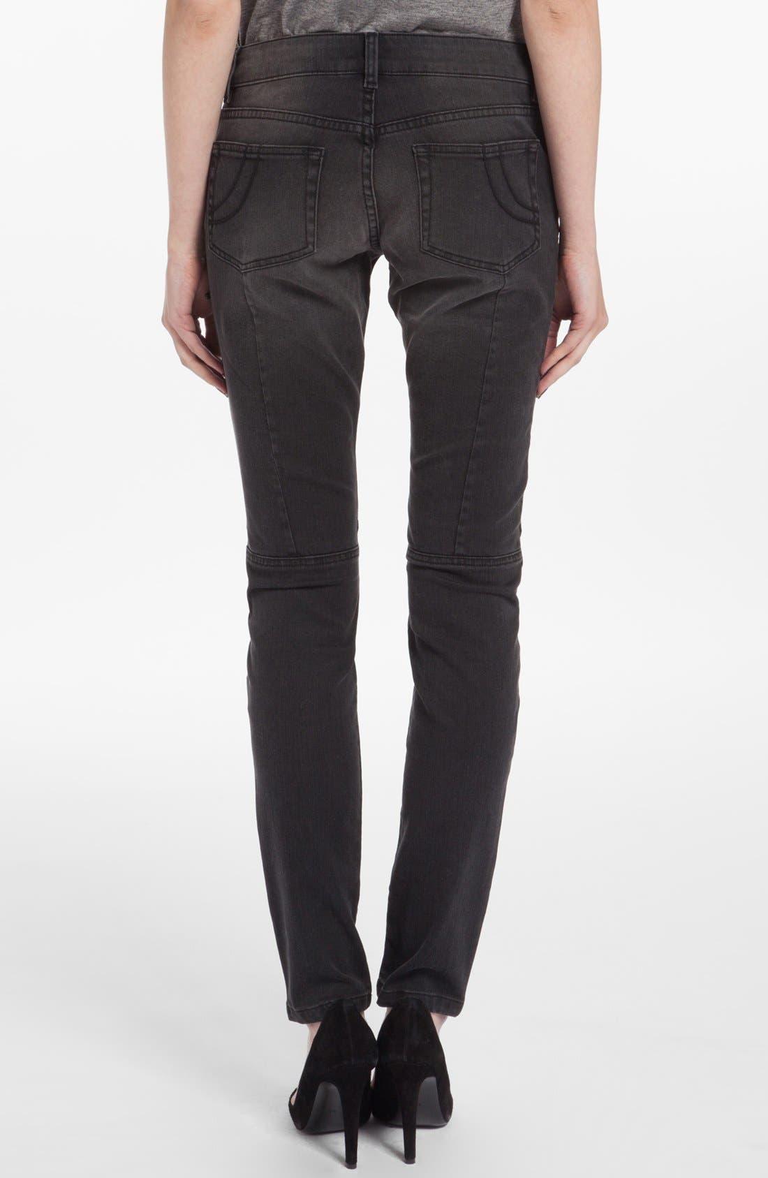 Alternate Image 2  - maje 'Dip' Colored Skinny Jeans (Noir)