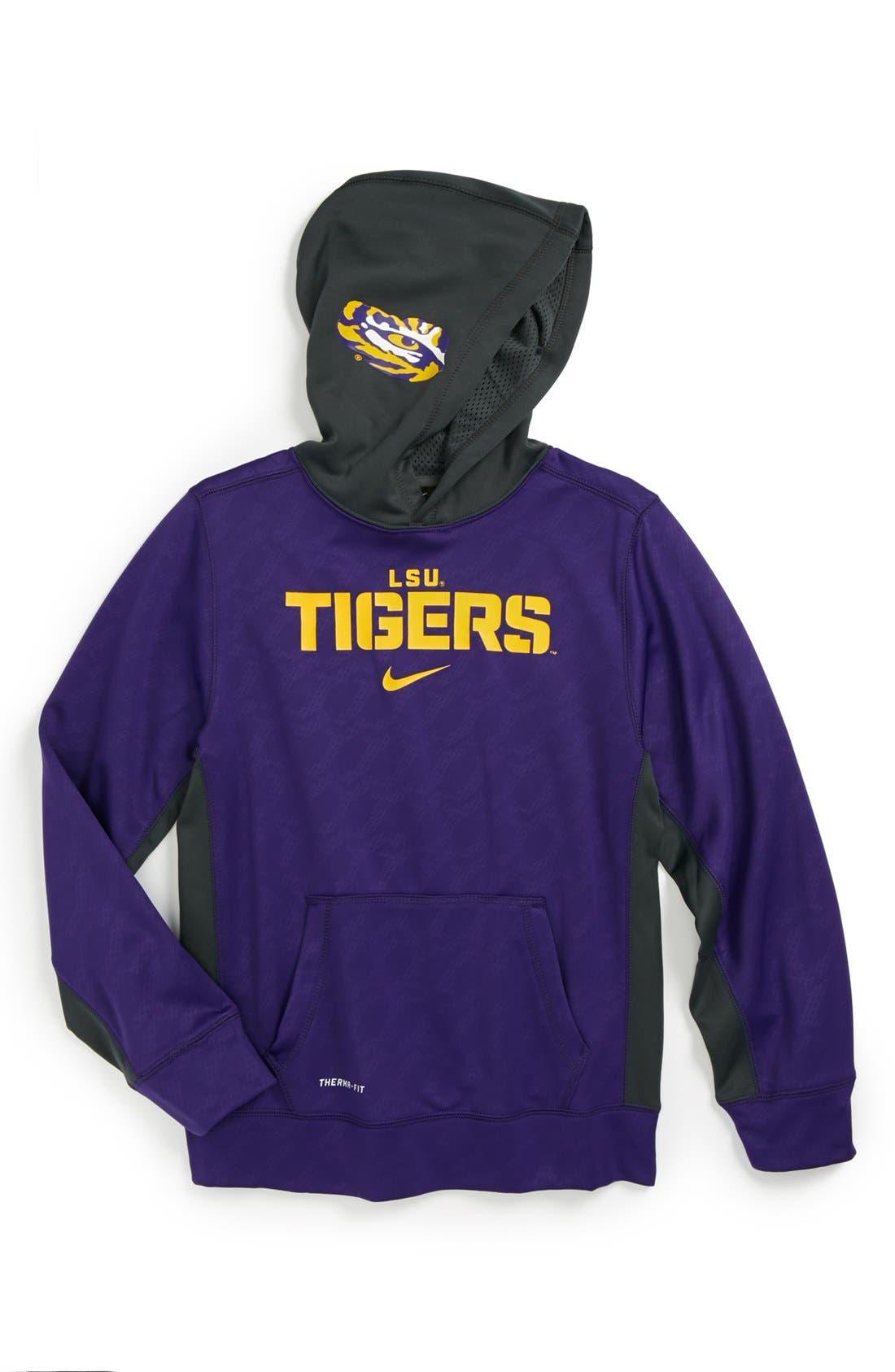 Alternate Image 1 Selected - Nike 'LSU Tigers' Therma-FIT Pullover Hoodie (Big Boys)