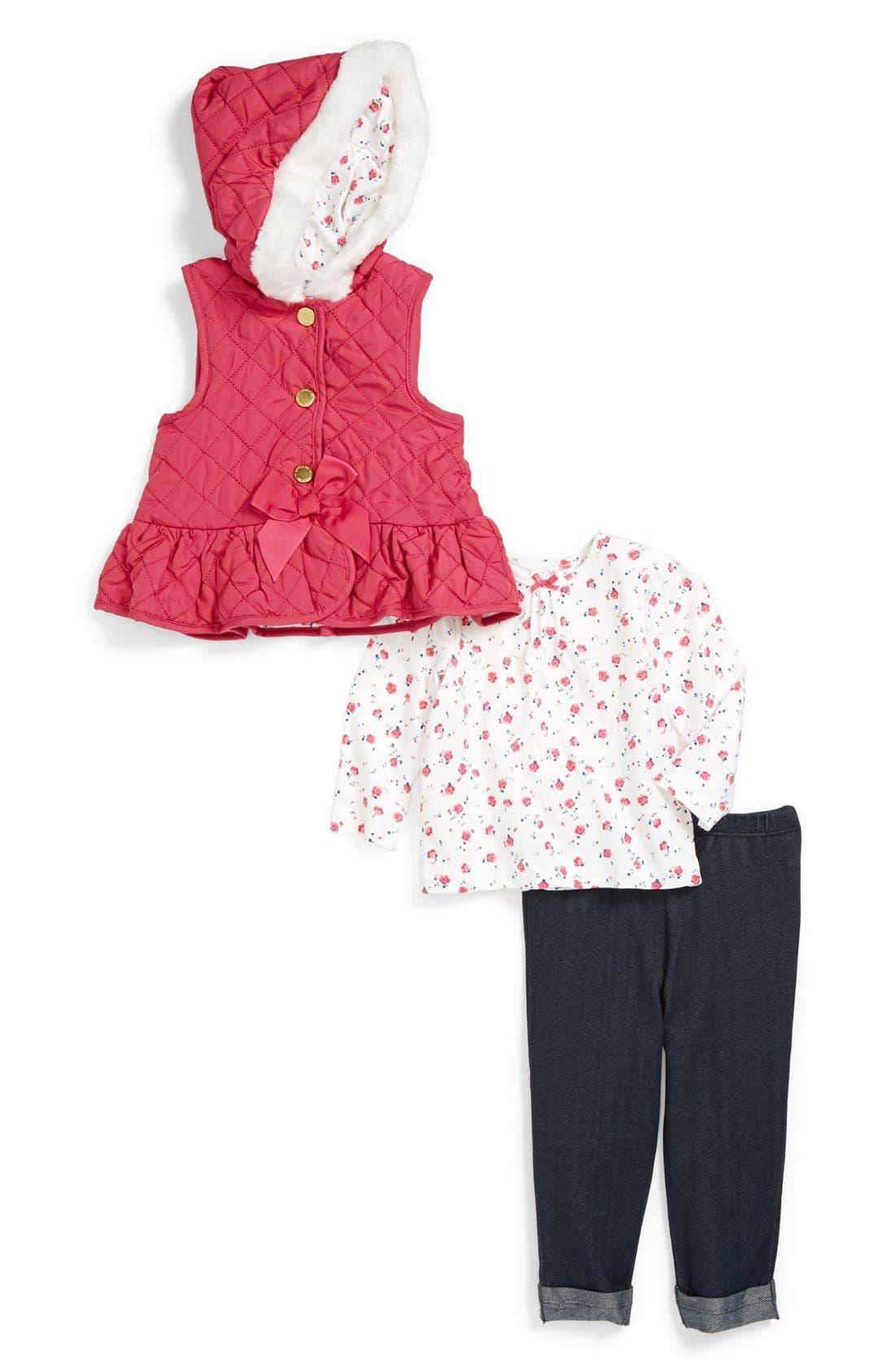 Main Image - Little Me Tee, Leggings and Hooded Vest (Baby Girls)