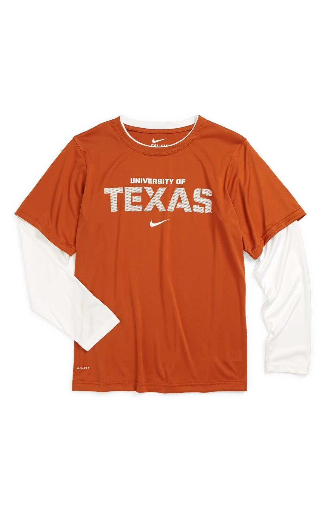 Alternate Image 1 Selected - Nike 'University of Texas Longhorns' Dri-FIT Layered Sleeve Sport T-Shirt (Big Boys)