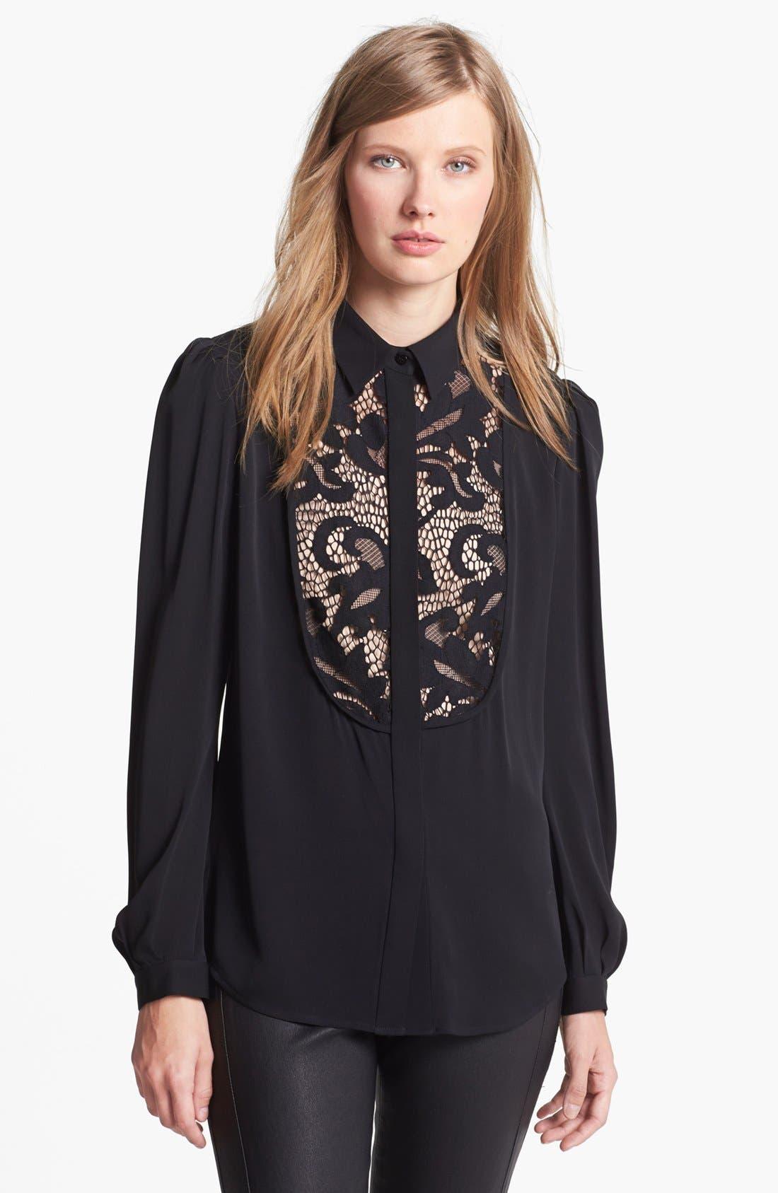 Main Image - Diane von Furstenberg 'Lucia' Lace Bib Silk Blouse