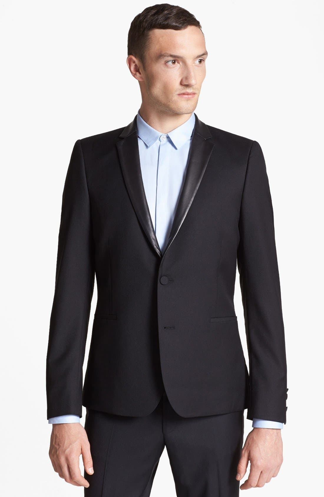 Main Image - The Kooples Trim Fit Black Wool Blazer with Leather Peak Lapels