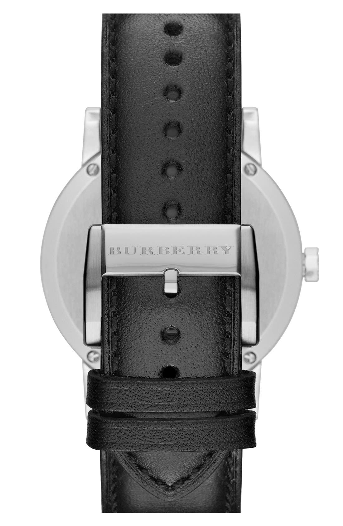Alternate Image 2  - Burberry Check Stamped Round Dial Watch, 38mm