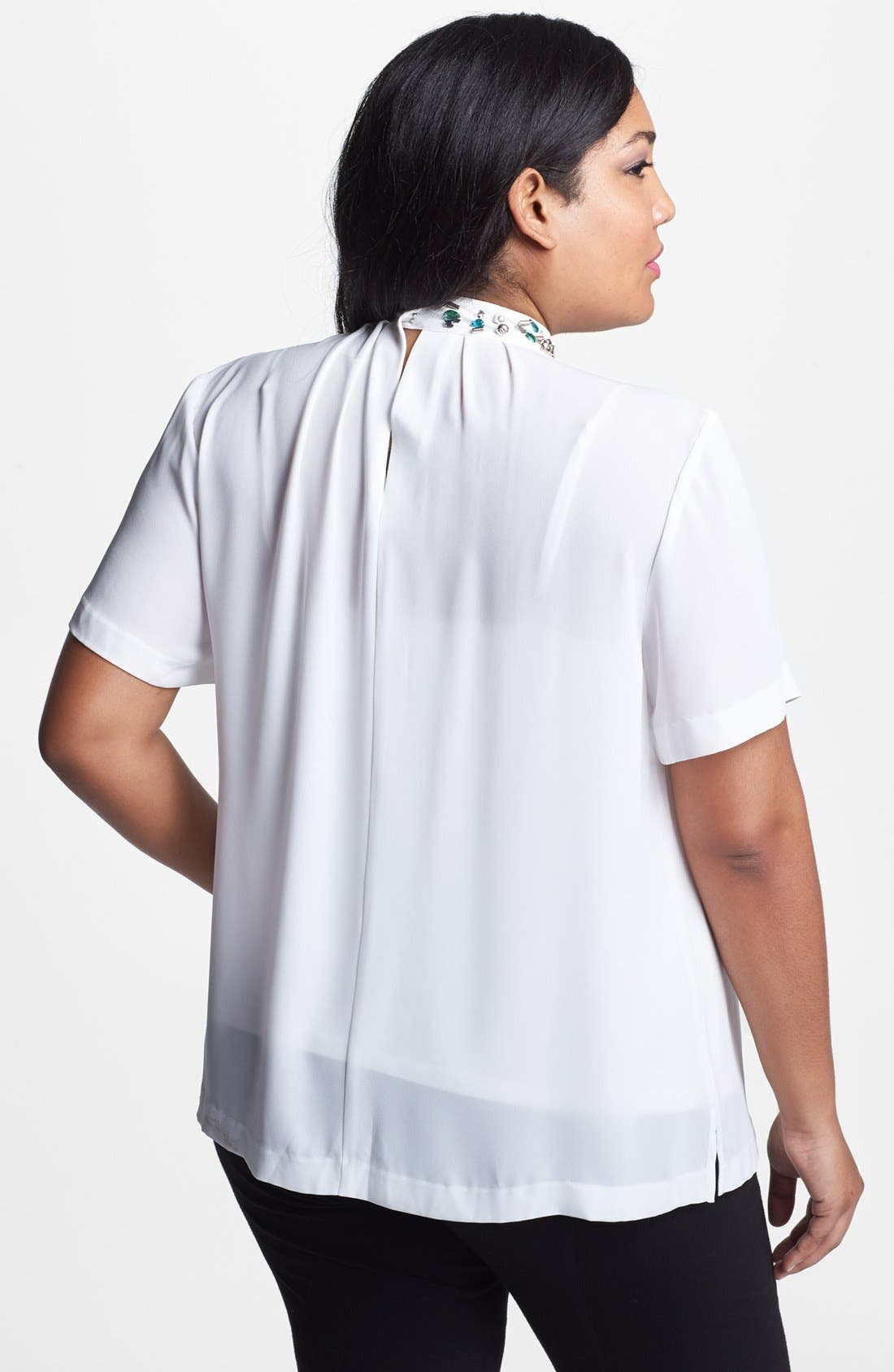 Alternate Image 2  - Vince Camuto Jewel Neck Pleat Blouse (Plus Size)