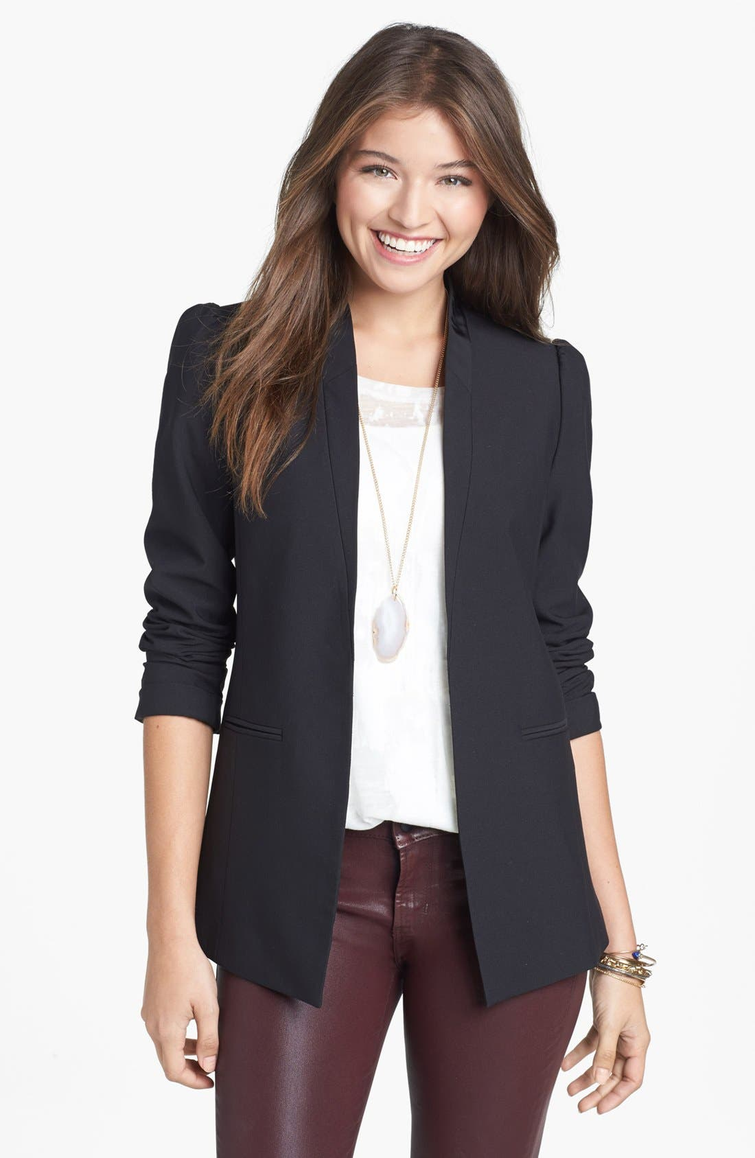 Alternate Image 1  - Frenchi® Puff Shoulder Blazer (Juniors)