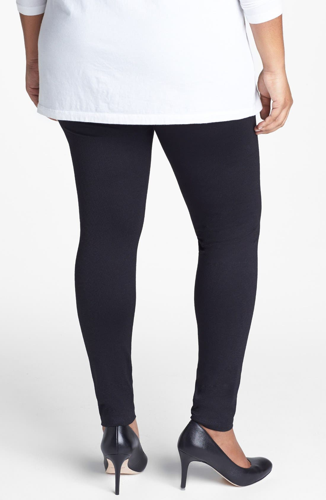 Alternate Image 2  - Sejour Ponte Knit Leggings (Plus Size)