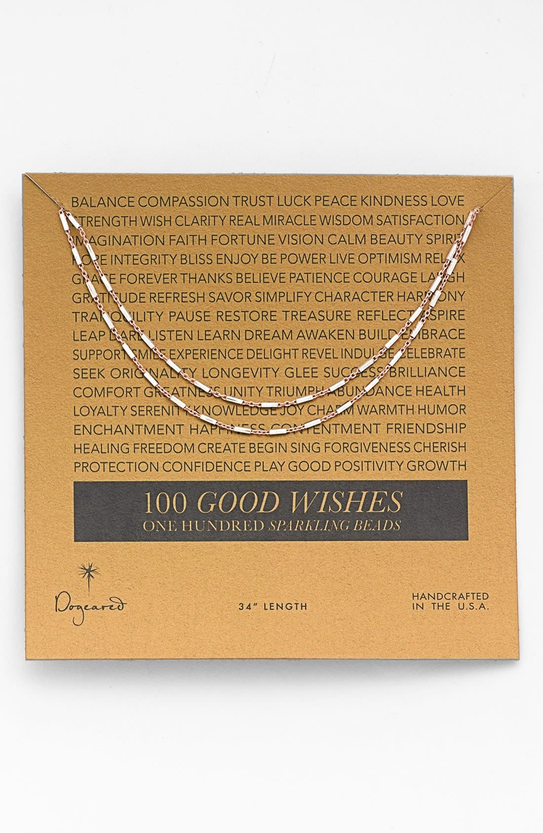 Main Image - Dogeared '100 Good Wishes' Boxed Bar Necklace