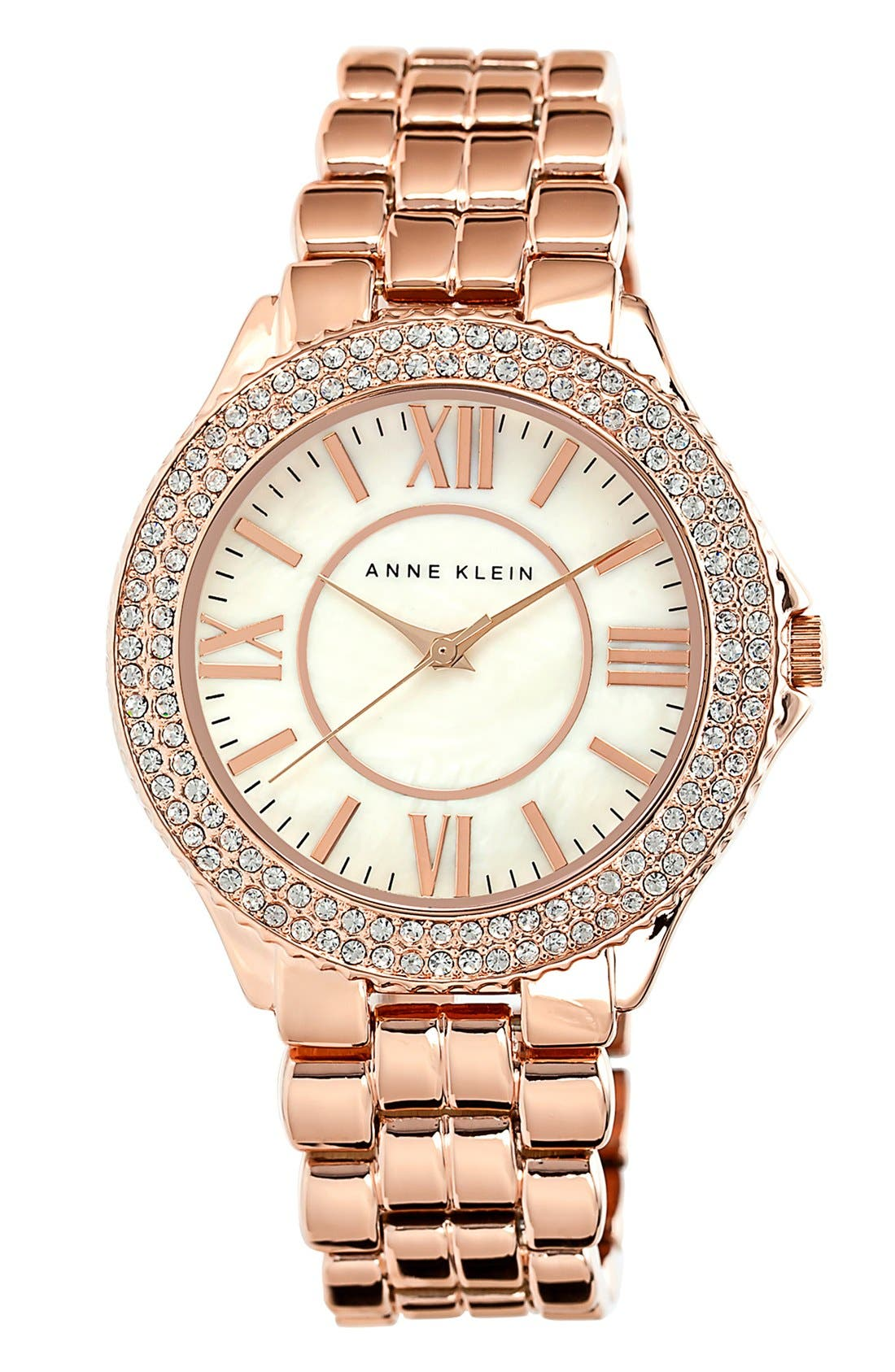 Main Image - Anne Klein Crystal Bezel Bracelet Watch, 38mm