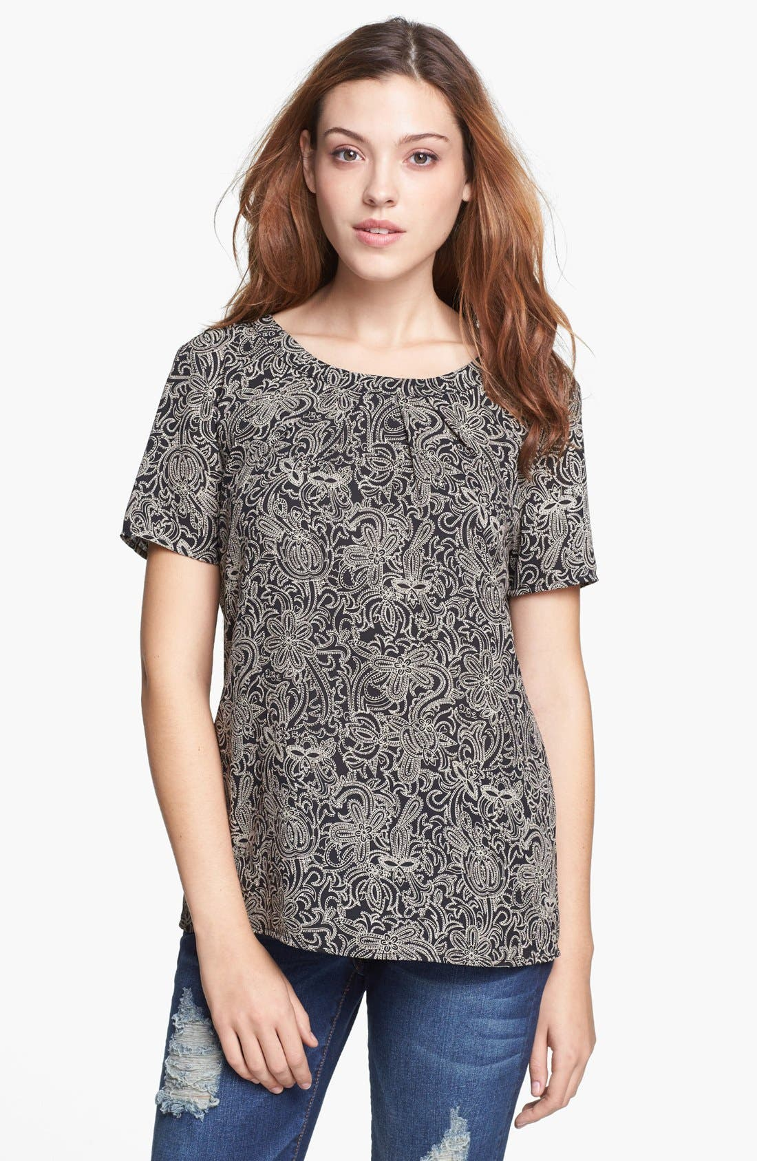 Alternate Image 1 Selected - Pleione Pleated Woven Top