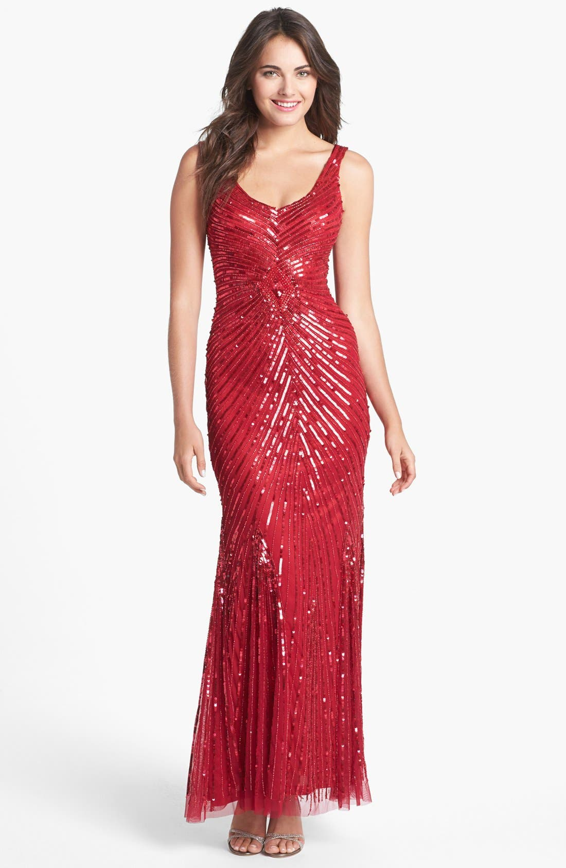 Main Image - Aidan Mattox Sequin V-Back Mesh Gown (Online Only)