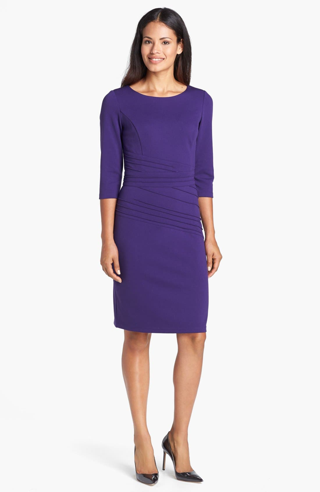 Alternate Image 1 Selected - Ellen Tracy Seamed Ponte Knit Sheath Dress