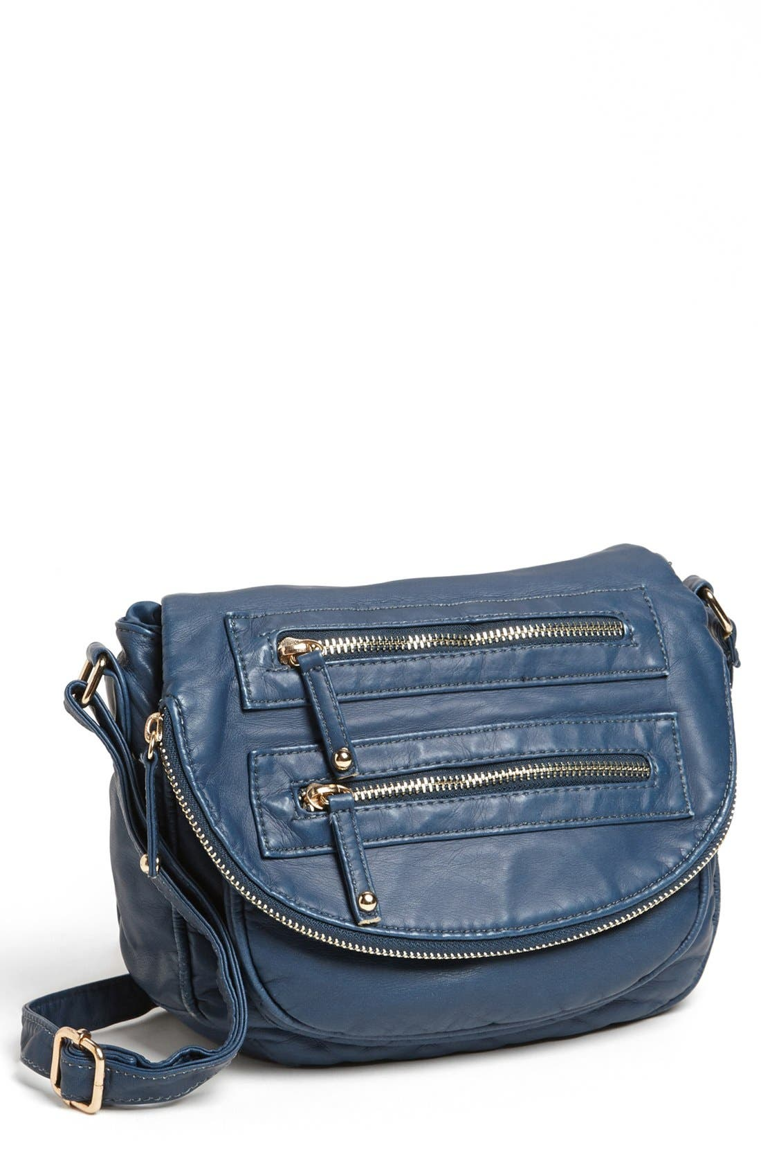 Alternate Image 1 Selected - Under One Sky Faux Leather Crossbody Bag (Juniors)
