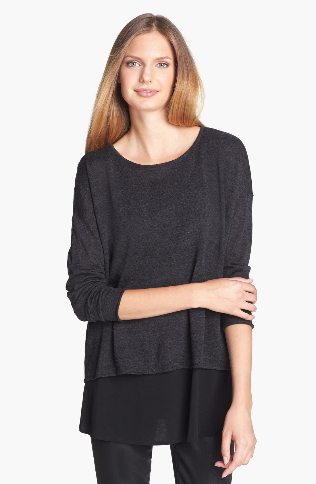 Main Image - Eileen Fisher Faux Wrap Back Merino Jersey Top
