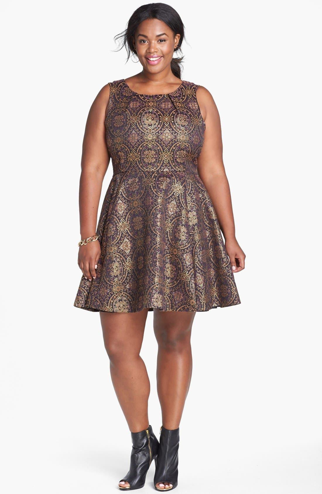 Main Image - BB Dakota Metallic Brocade Dress (Plus Size)