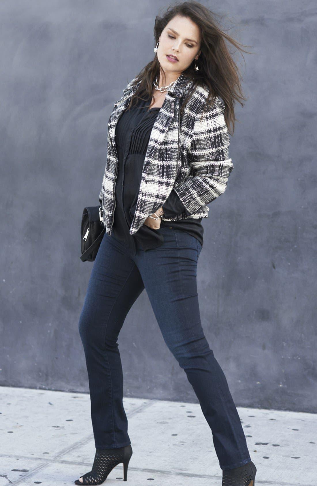 Alternate Image 5  - Lucky Brand Plaid Moto Sweater Jacket (Plus Size)