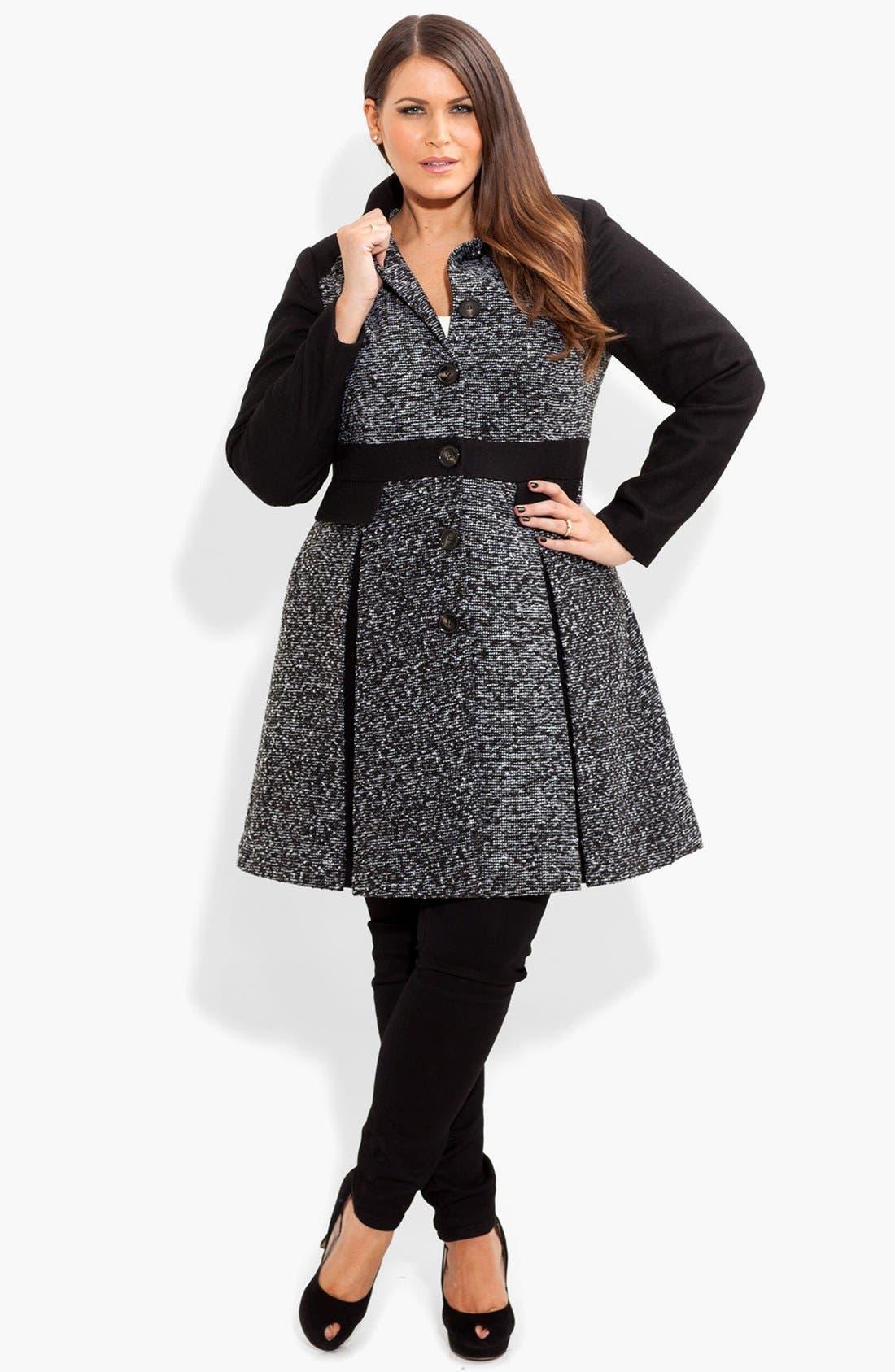 Main Image - City Chic Bouclé Fit & Flare Jacket (Plus Size)