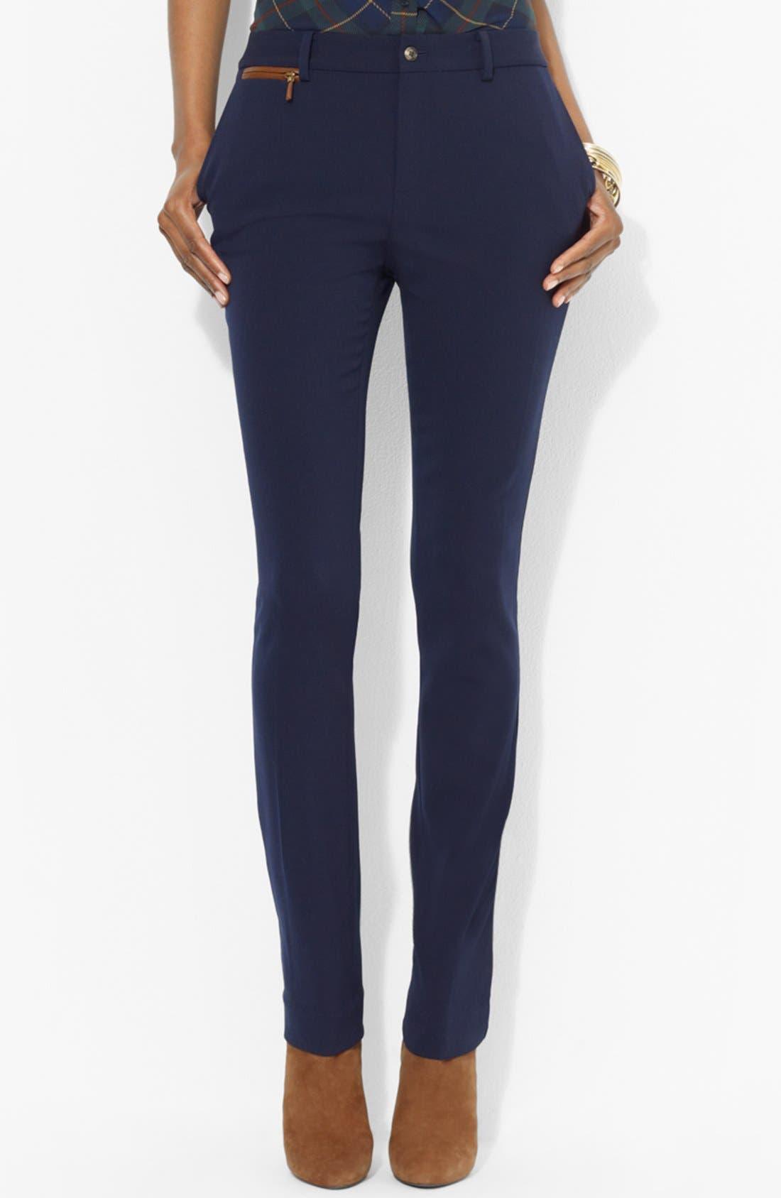 Alternate Image 1 Selected - Lauren Ralph Lauren Slim Wool Pants (Petite)
