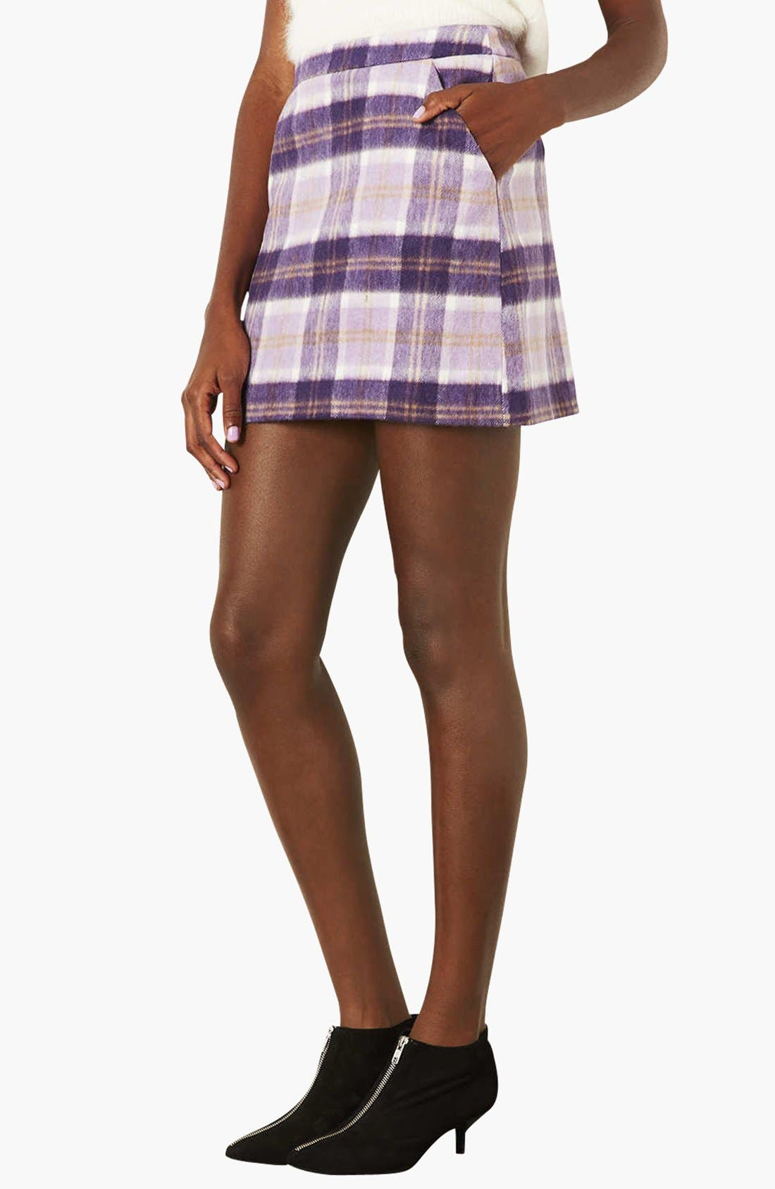 Main Image - Topshop Checkered A-Line Skirt