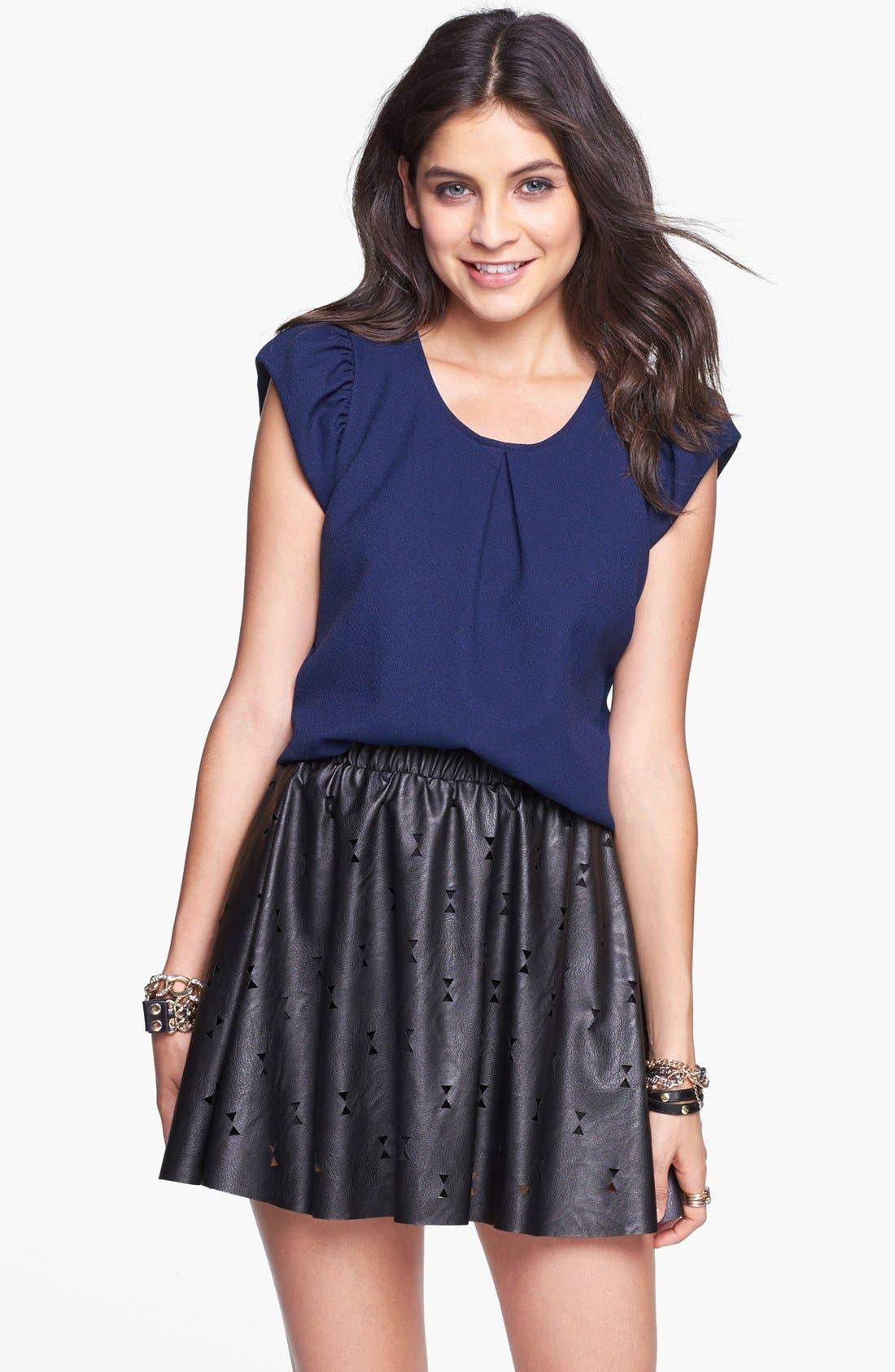 Main Image - Blu Pepper Laser Cut Faux Leather Skater Skirt (Juniors)